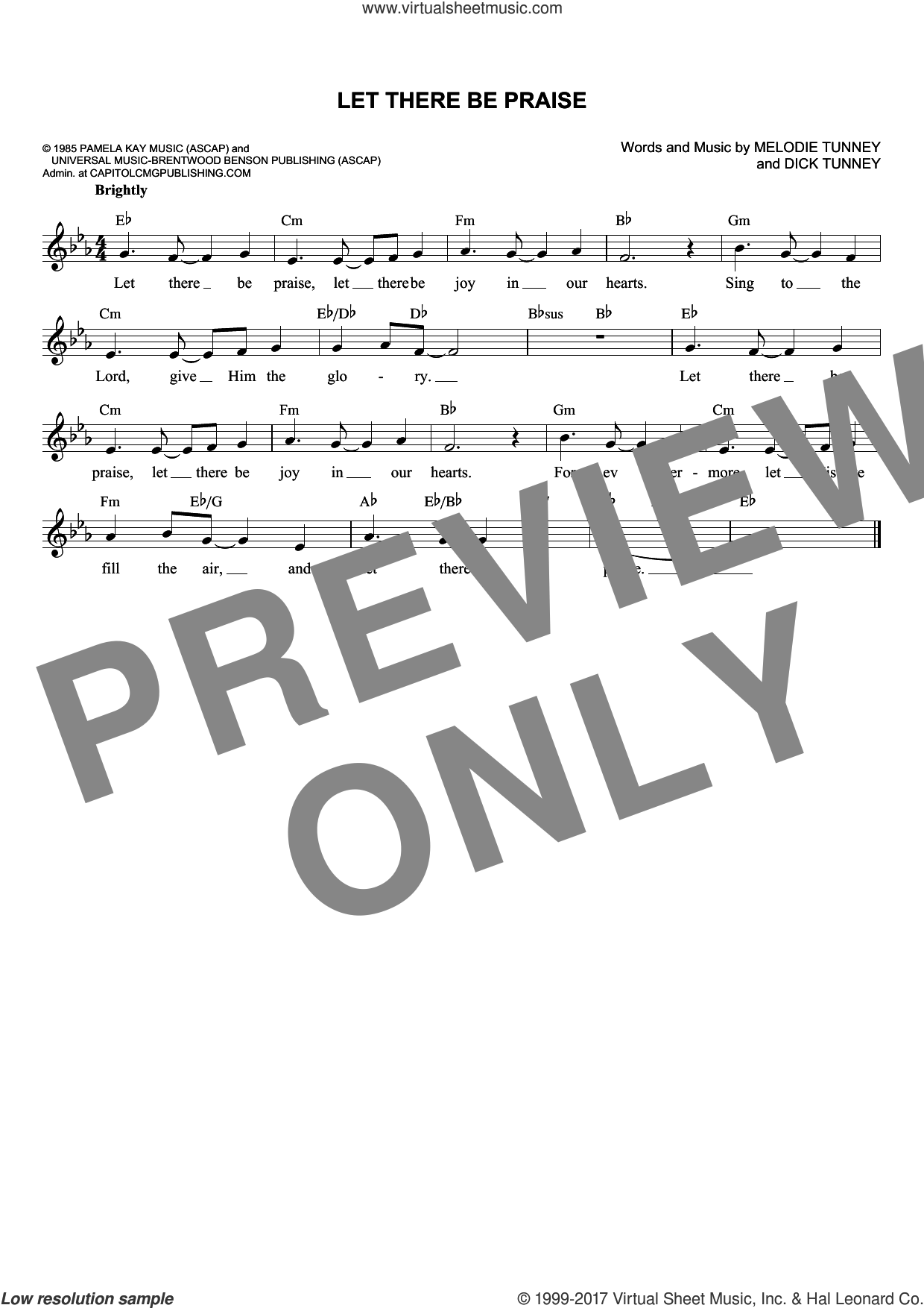 Let There Be Praise sheet music for voice and other instruments (fake book) by Sandi Patty, Dick Tunney and Melodie Tunney, intermediate skill level