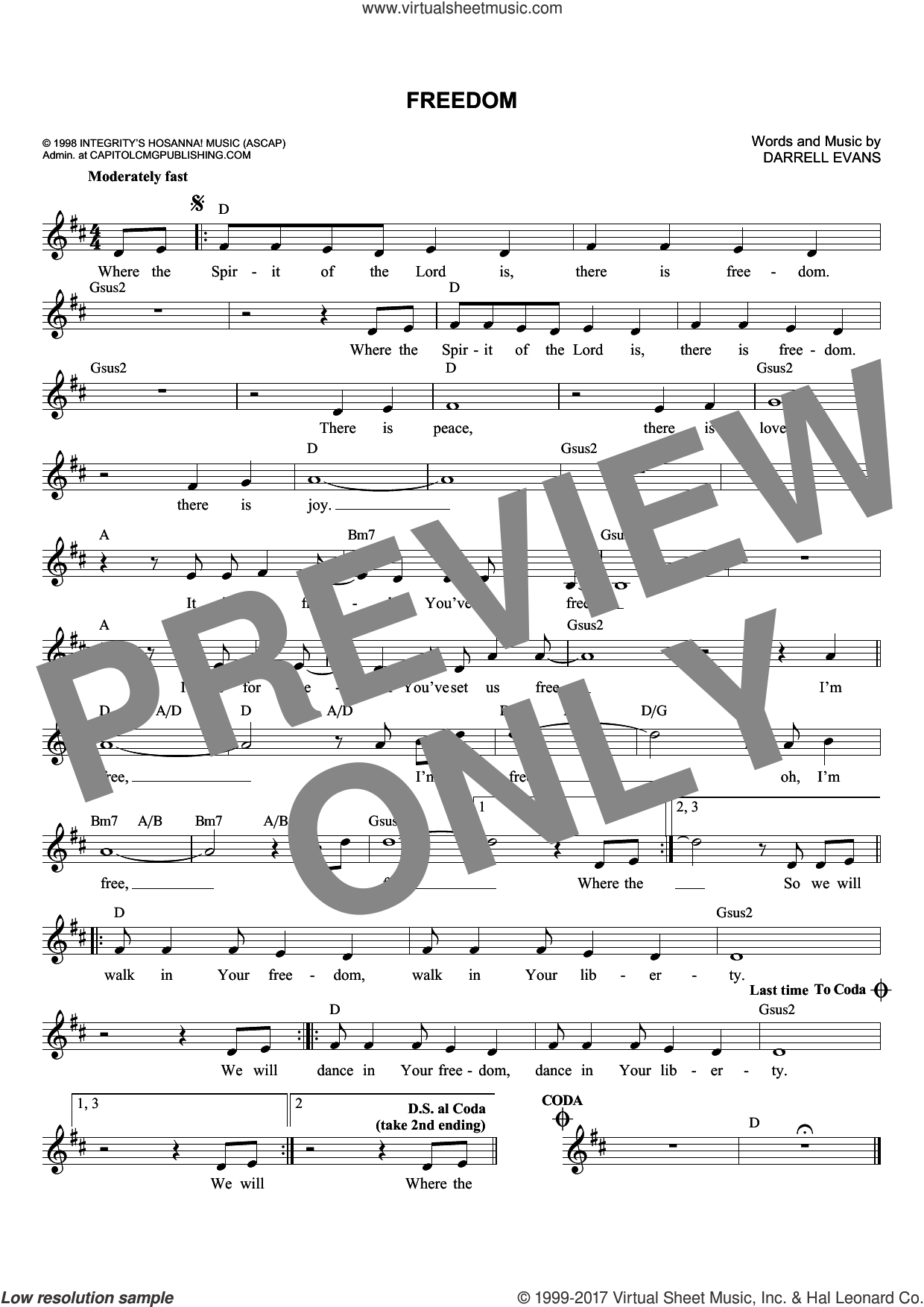Freedom sheet music for voice and other instruments (fake book) by Darrell Evans, intermediate skill level