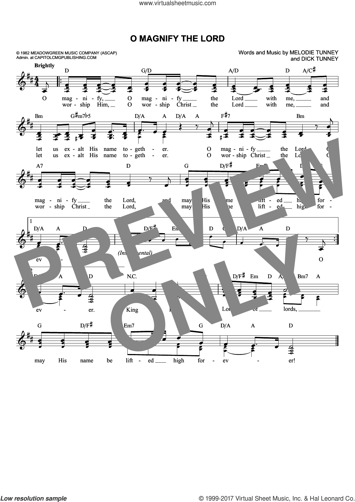 O Magnify The Lord sheet music for voice and other instruments (fake book) by Dick Tunney and Melodie Tunney, intermediate skill level
