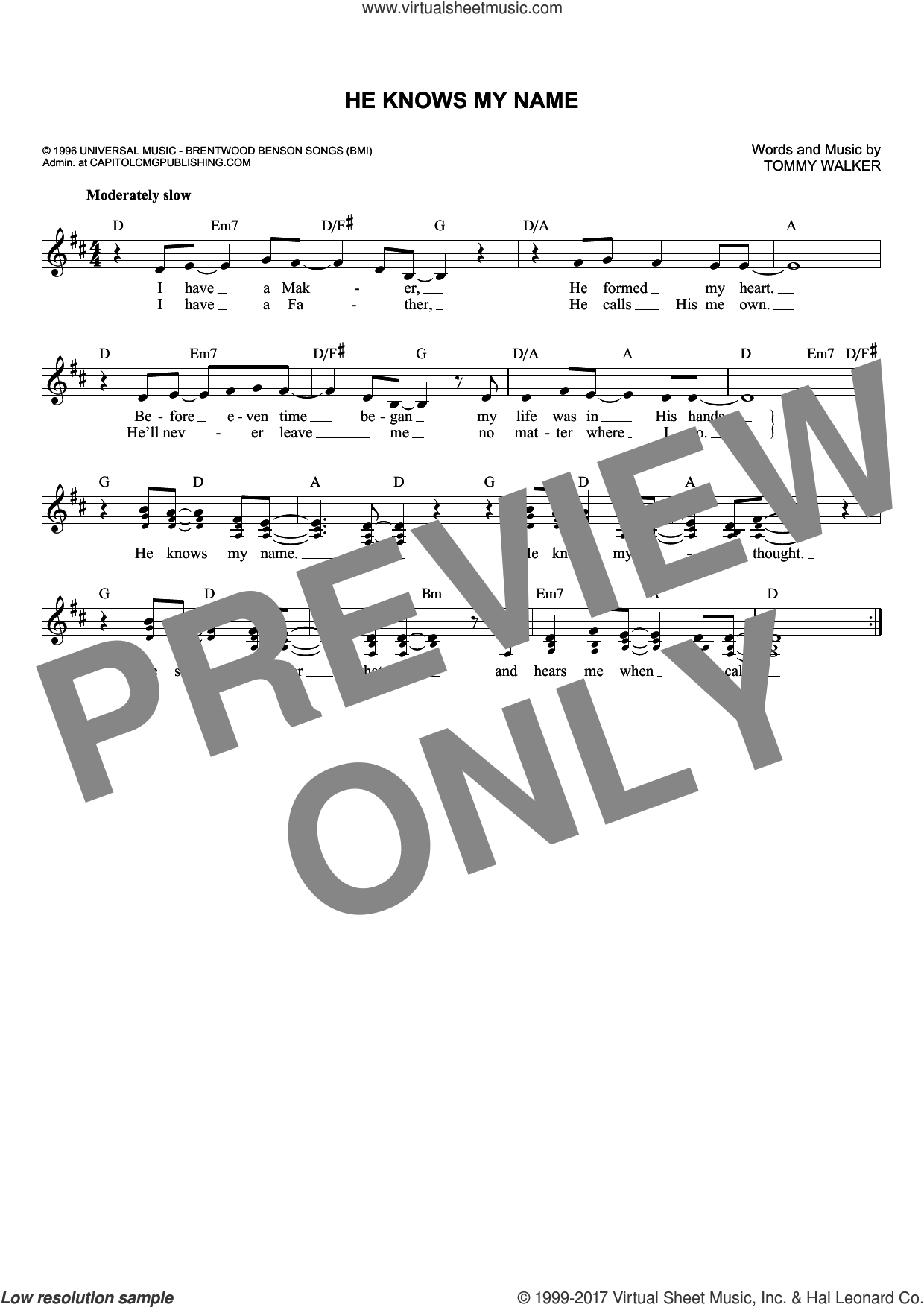 He Knows My Name sheet music for voice and other instruments (fake book) by Tommy Walker, intermediate. Score Image Preview.