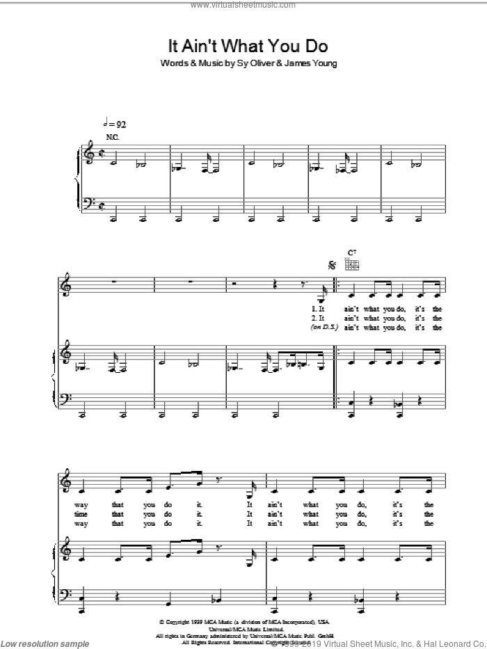 It Ain't What You Do sheet music for voice, piano or guitar by Bananarama, Fun Boy Three, James Young and Sy Oliver, intermediate skill level