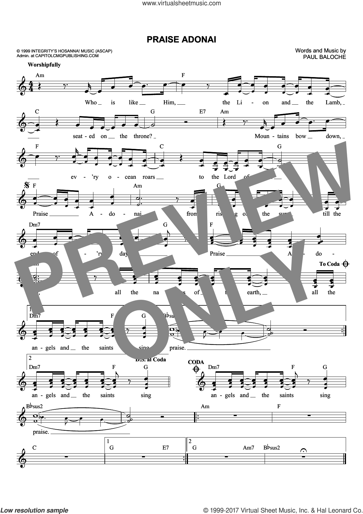 Praise Adonai sheet music for voice and other instruments (fake book) by Paul Baloche, intermediate skill level