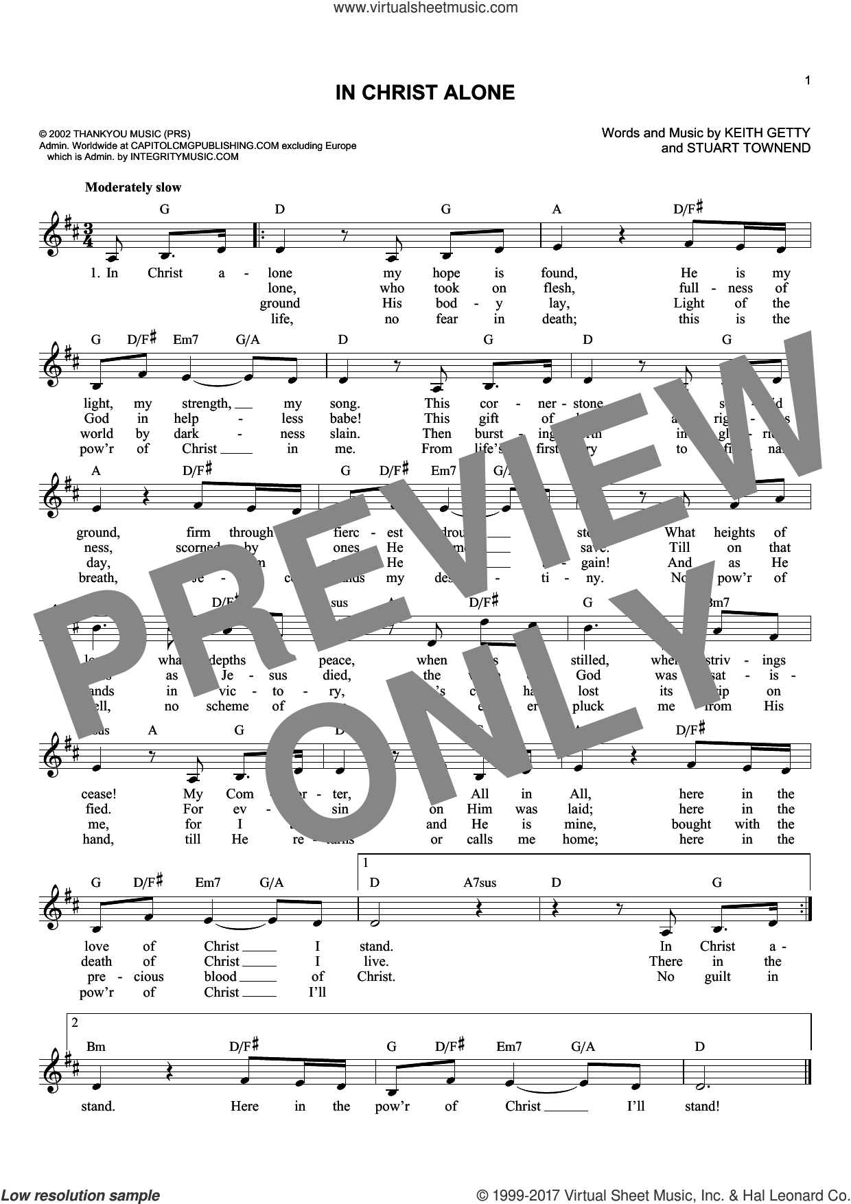 In Christ Alone sheet music for voice and other instruments (fake book) by Keith Getty, Margaret Becker, Newsboys and Stuart Townend, intermediate skill level