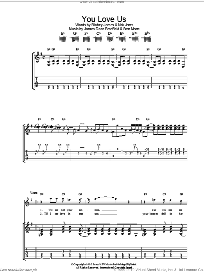 You Love Us sheet music for guitar (tablature) by Manic Street Preachers, James Dean Bradfield, Nick Jones, Richey James and Sean Moore, intermediate skill level