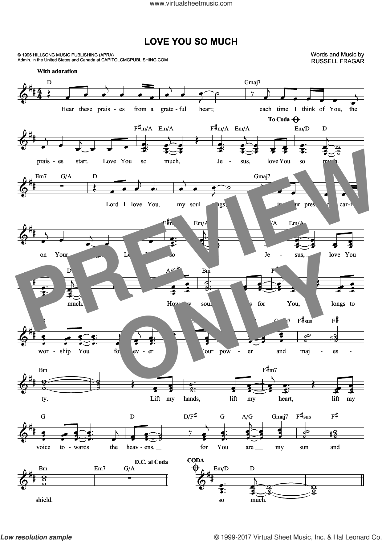 Love You So Much sheet music for voice and other instruments (fake book) by Russell Fragar, intermediate voice. Score Image Preview.