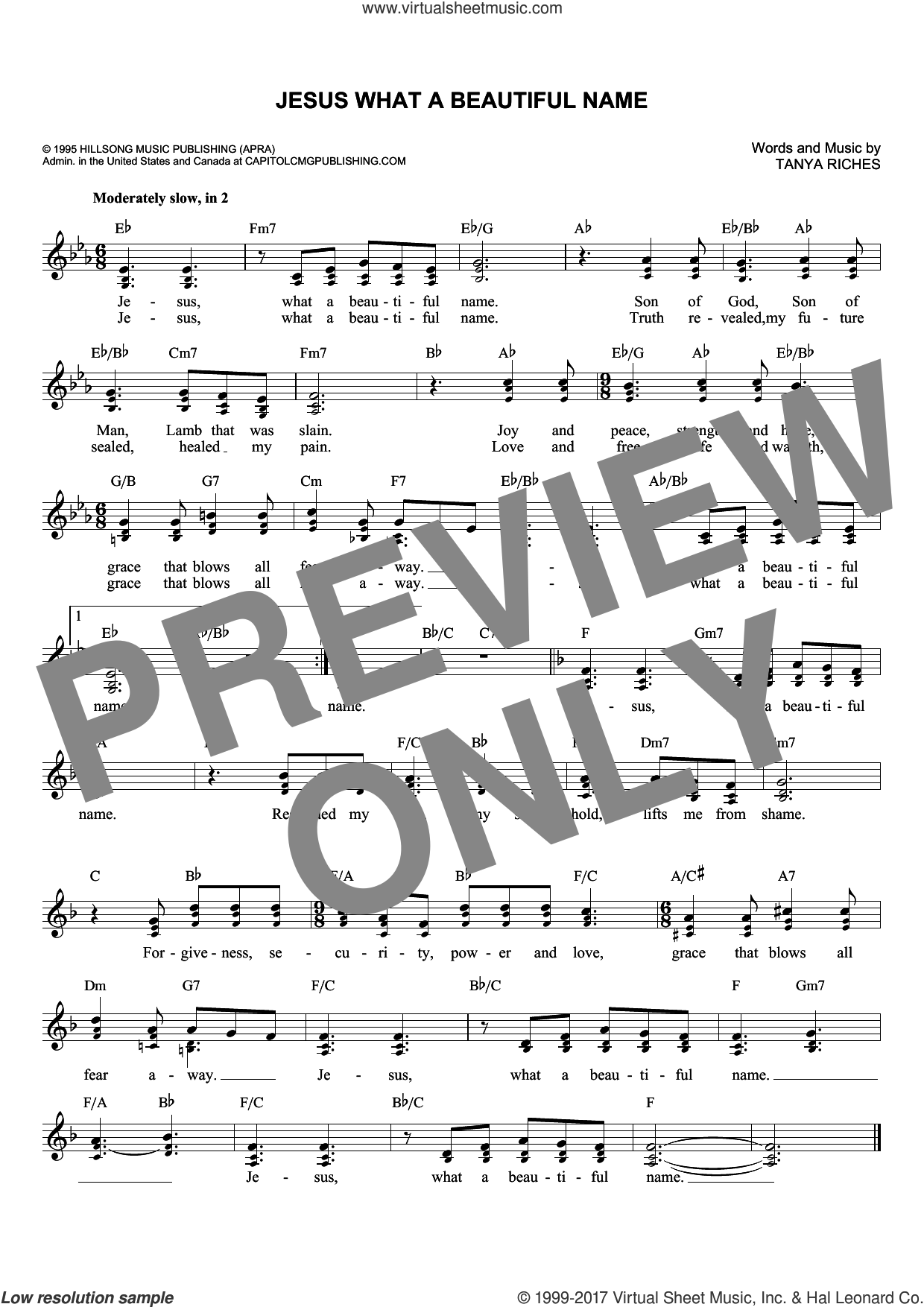 Jesus What A Beautiful Name sheet music for voice and other instruments (fake book) by Tanya Riches. Score Image Preview.