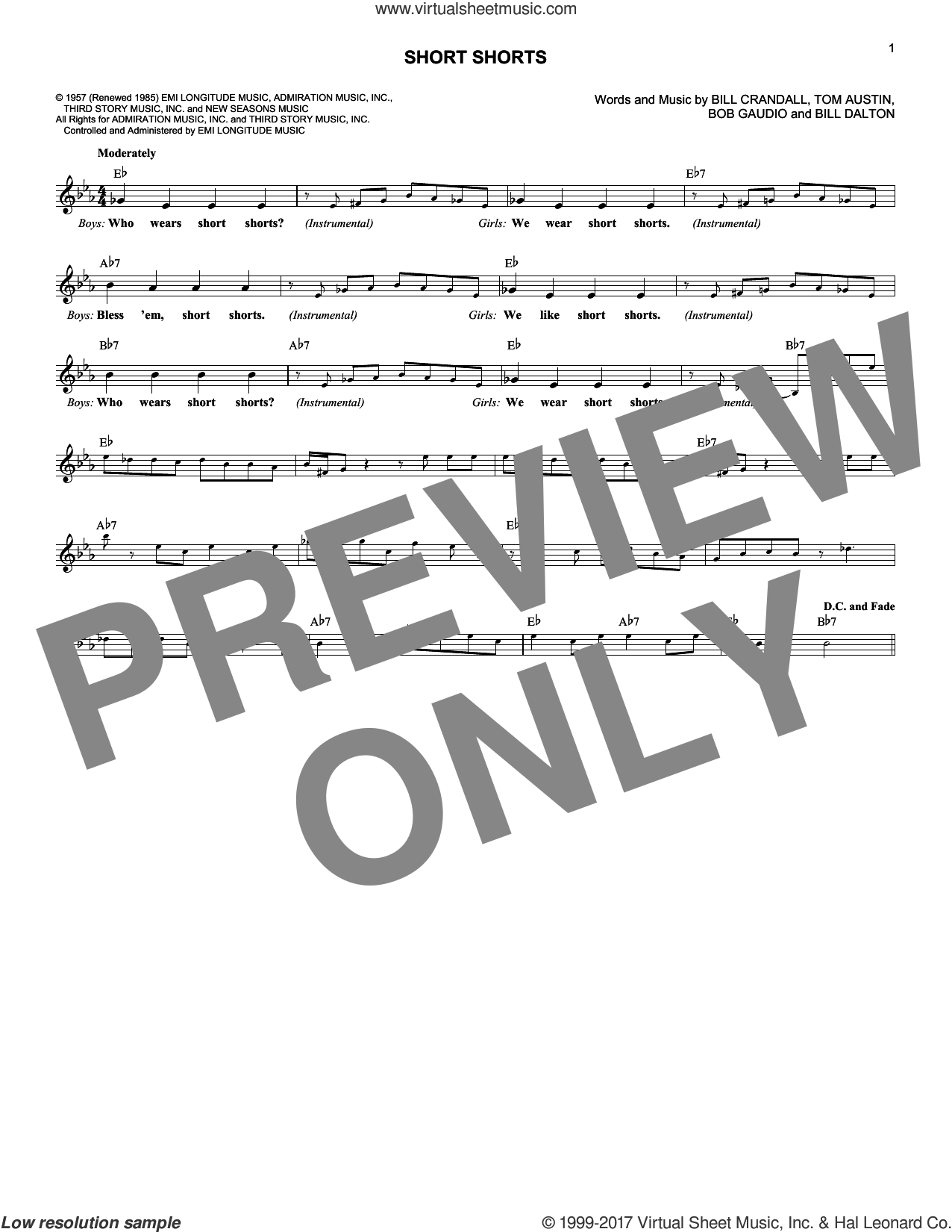 Short Shorts sheet music for voice and other instruments (fake book) by The Royal Teens, Bill Crandall, Bill Dalton, Bob Gaudio and Tom Austin, intermediate. Score Image Preview.
