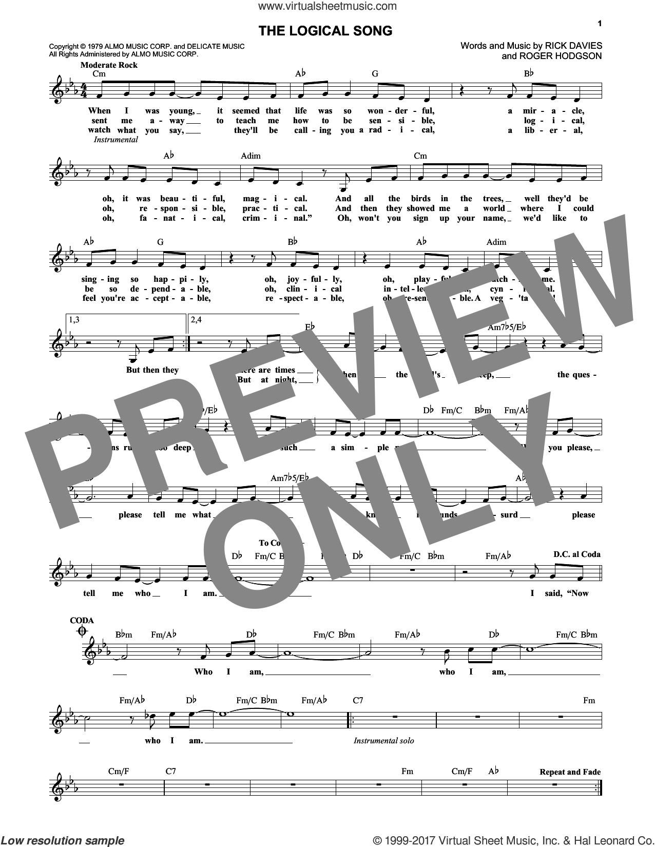 The Logical Song sheet music for voice and other instruments (fake book) by Supertramp, Rick Davies and Roger Hodgson, intermediate skill level
