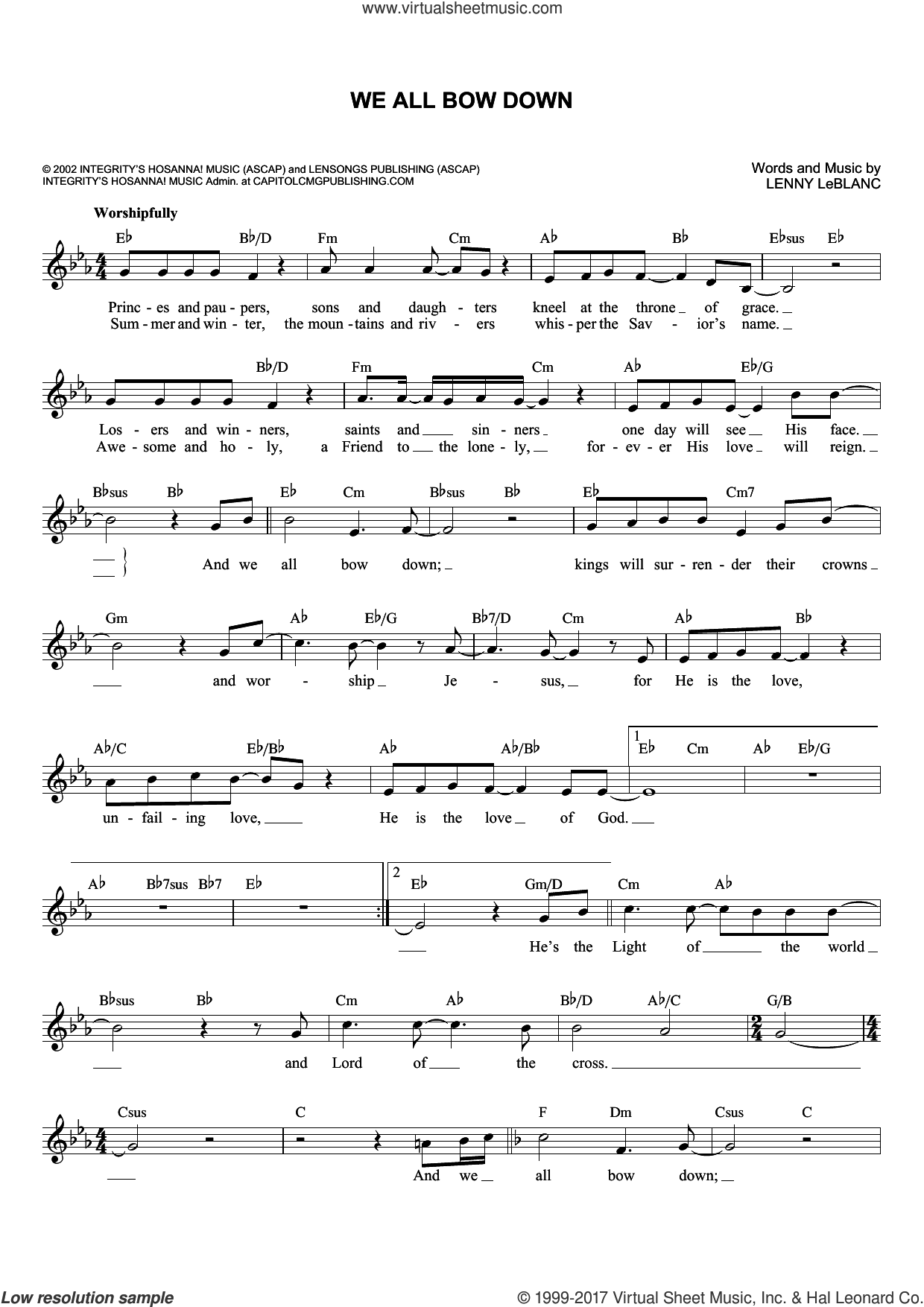 We All Bow Down sheet music for voice and other instruments (fake book) by Lenny LeBlanc, intermediate skill level