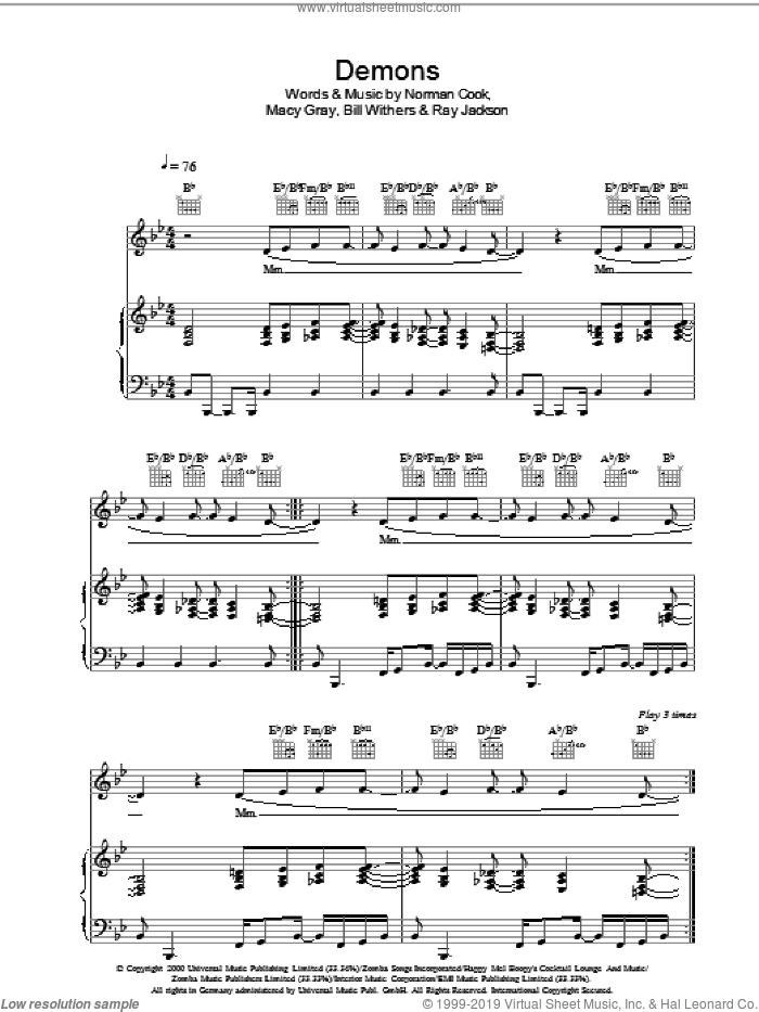 Demons sheet music for voice, piano or guitar by Bill Withers, Fatboy Slim, Macy Gray, Norman Cook and Ray Jackson, intermediate skill level