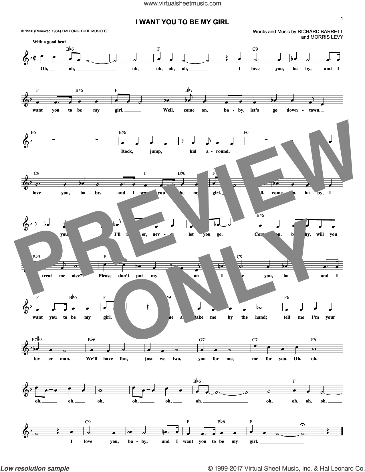 I Want You To Be My Girl sheet music for voice and other instruments (fake book) by Frankie Lymon & The Teenagers, Morris Levy and Richard Barrett, intermediate skill level