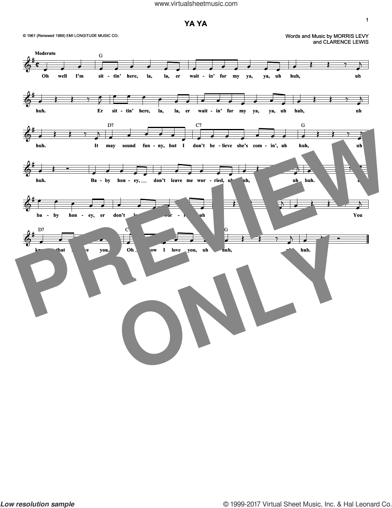 Ya Ya sheet music for voice and other instruments (fake book) by Lee Dorsey, intermediate. Score Image Preview.