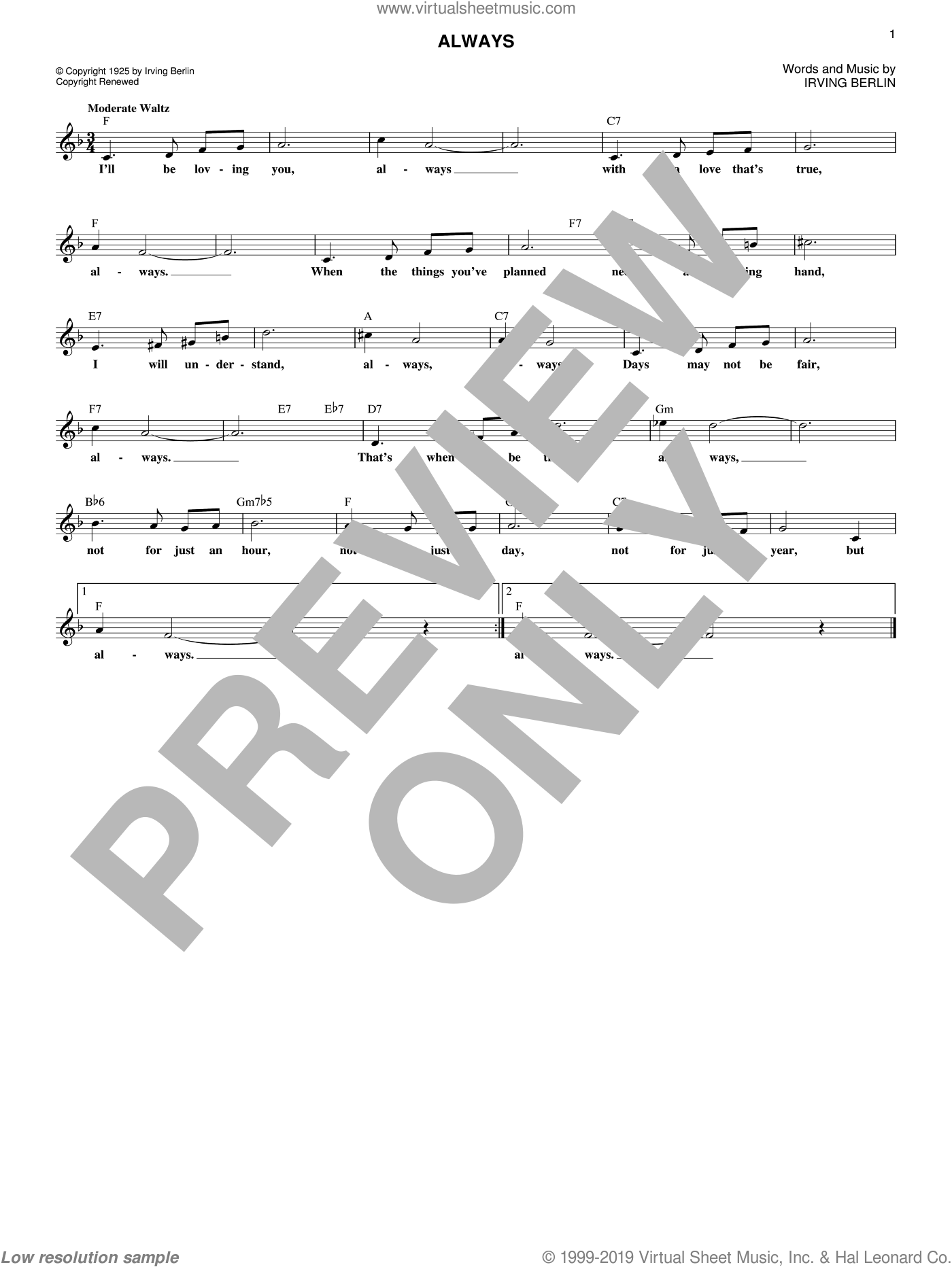Always sheet music for voice and other instruments (fake book) by Irving Berlin, Billie Holiday, Frank Sinatra and Patsy Cline, wedding score, intermediate skill level