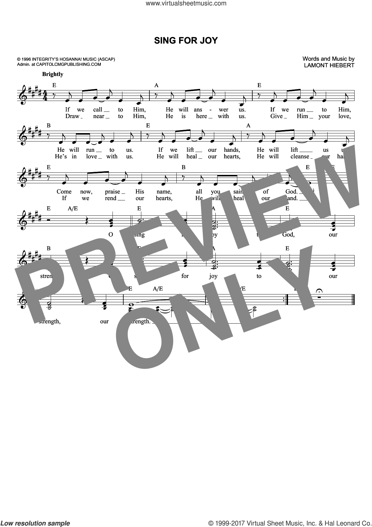 Sing For Joy sheet music for voice and other instruments (fake book) by Lamont Hiebert. Score Image Preview.
