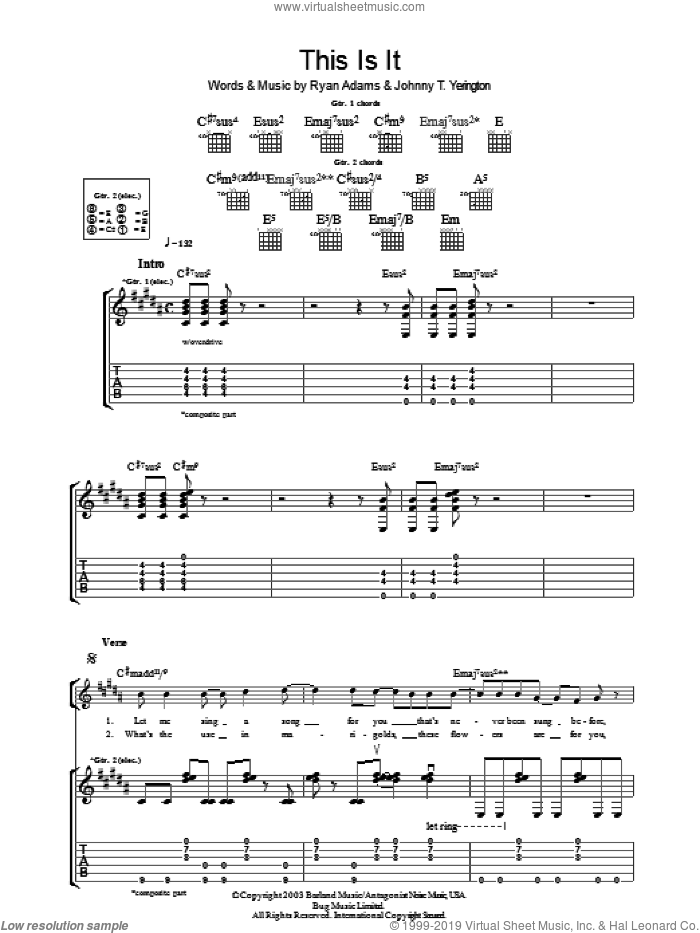 This Is It sheet music for guitar (tablature) by Johnny T. Yerington and Ryan Adams. Score Image Preview.