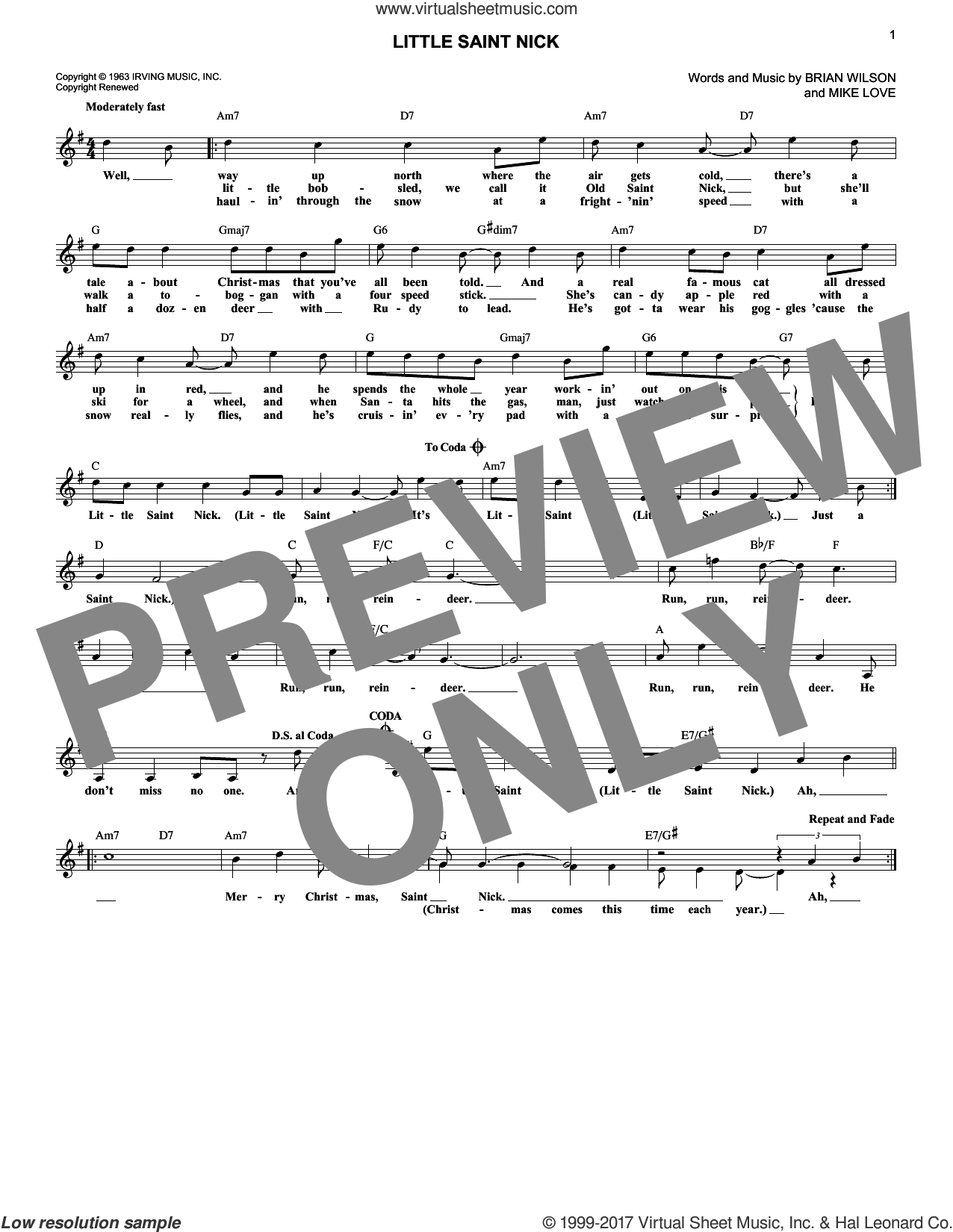 Little Saint Nick sheet music for voice and other instruments (fake book) by The Beach Boys, Brian Wilson and Mike Love, intermediate skill level