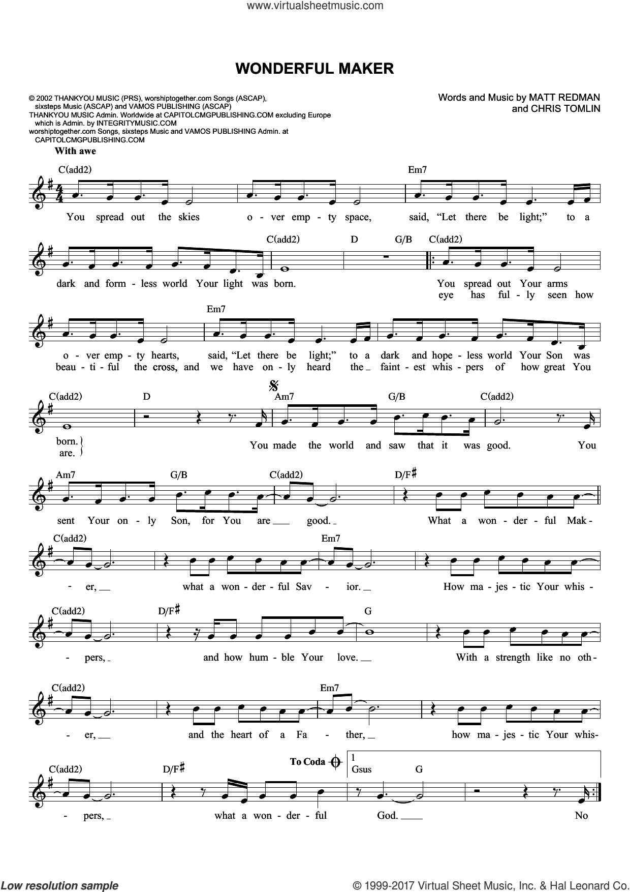 Wonderful Maker sheet music for voice and other instruments (fake book) by Chris Tomlin and Matt Redman, intermediate skill level