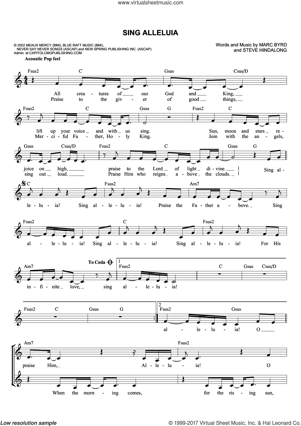 Sing Alleluia sheet music for voice and other instruments (fake book) by Marc Byrd and Steve Hindalong, intermediate skill level