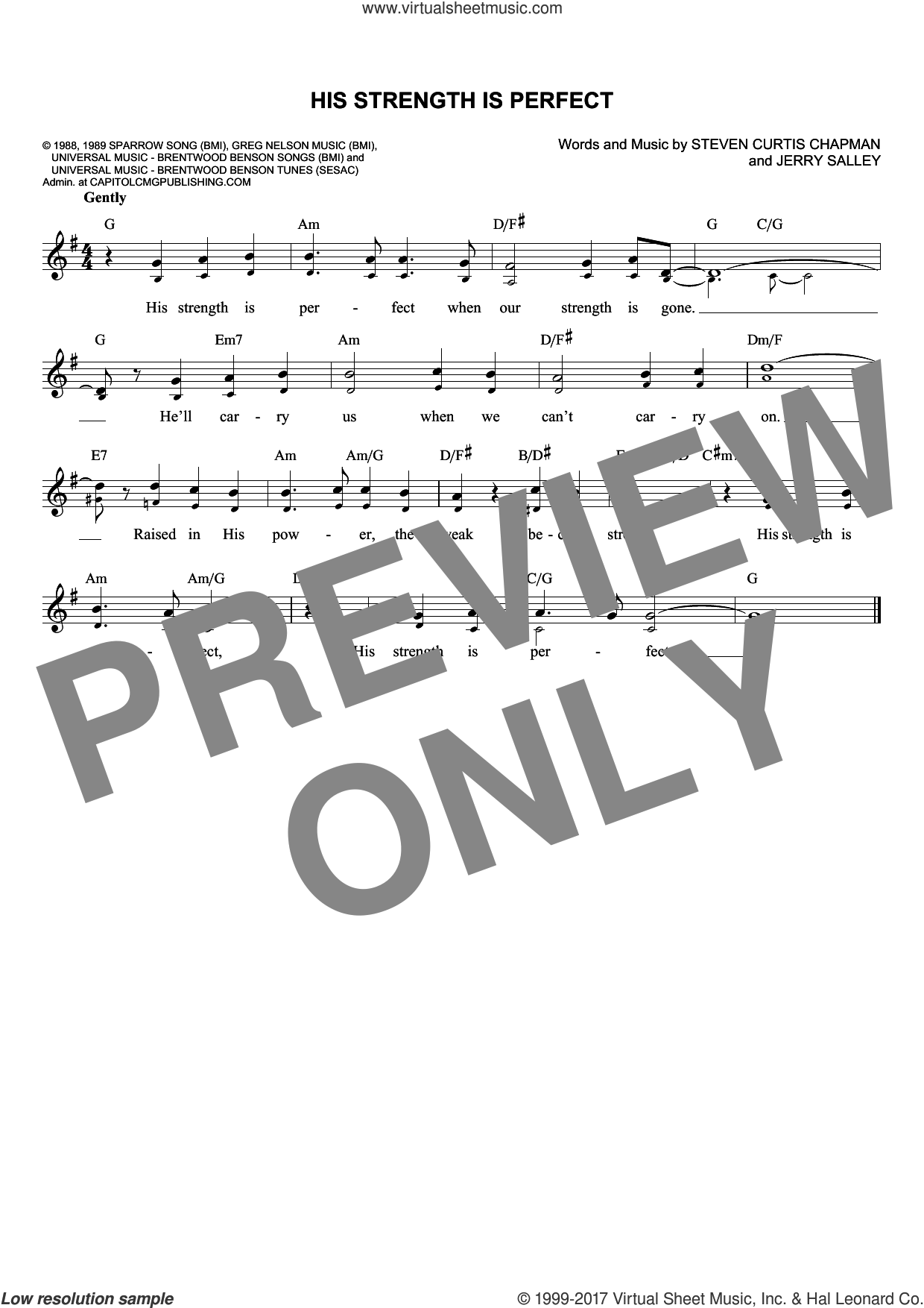 His Strength Is Perfect sheet music for voice and other instruments (fake book) by Steven Curtis Chapman and Jerry Salley. Score Image Preview.