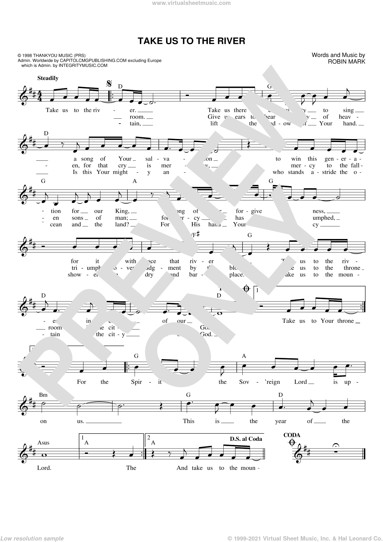 Take Us To The River sheet music for voice and other instruments (fake book) by Robin Mark, intermediate skill level