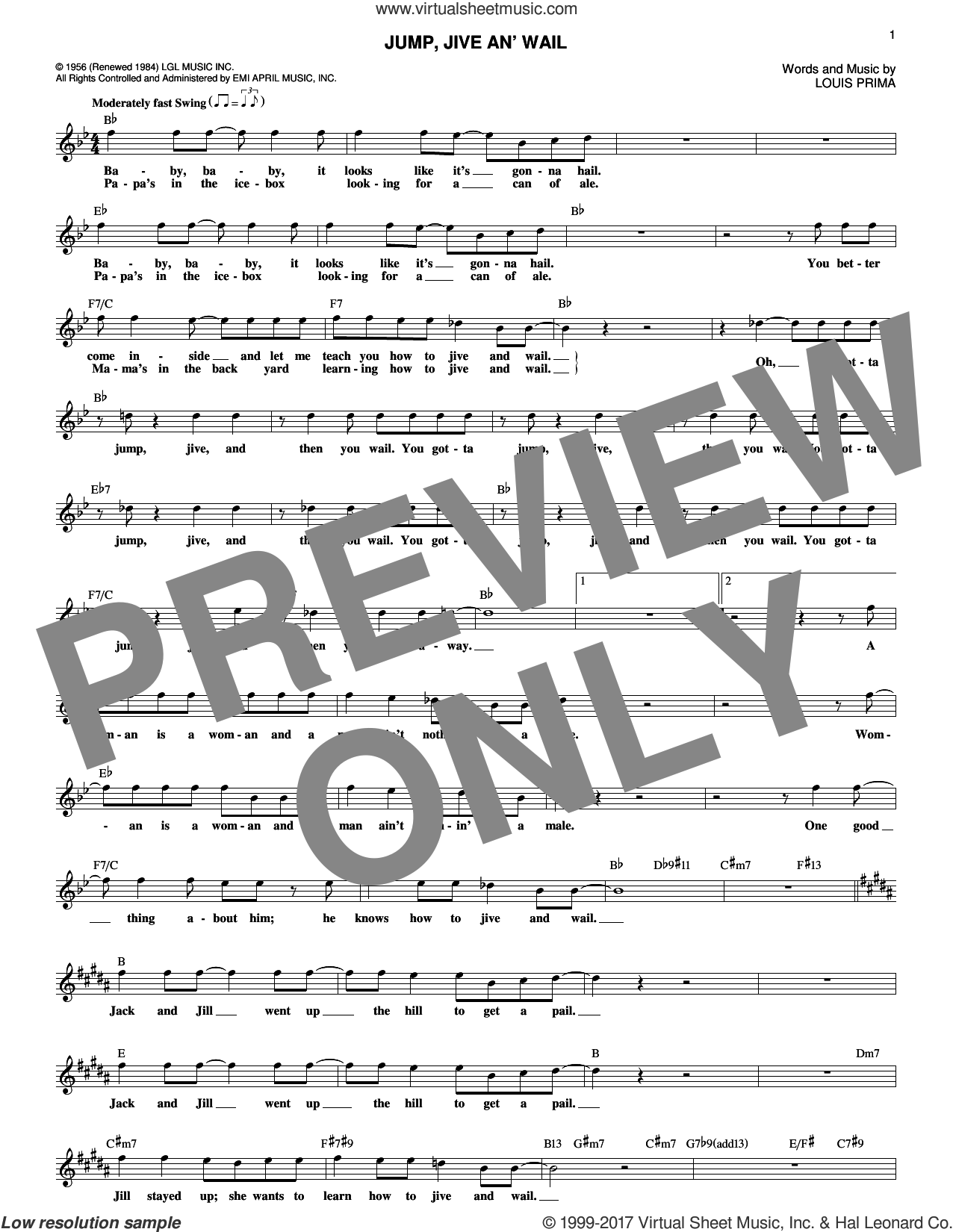 Jump, Jive An' Wail sheet music for voice and other instruments (fake book) by Louis Prima and Brian Setzer, intermediate