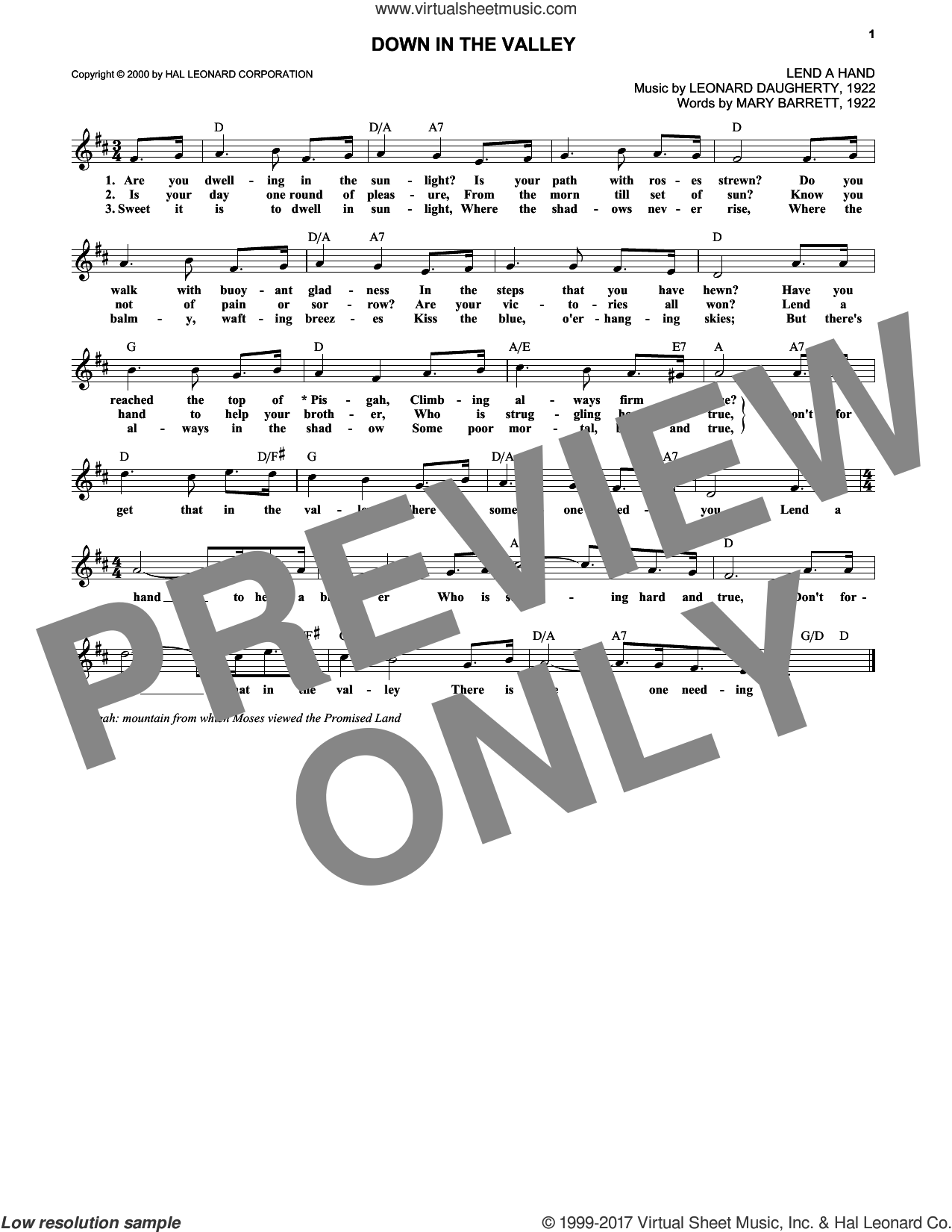 Down In The Valley sheet music for voice and other instruments (fake book) by Leonard Daugherty, intermediate voice. Score Image Preview.