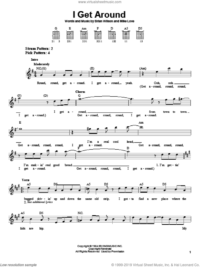 I Get Around sheet music for guitar solo (chords) by Mike Love, The Beach Boys and Brian Wilson. Score Image Preview.
