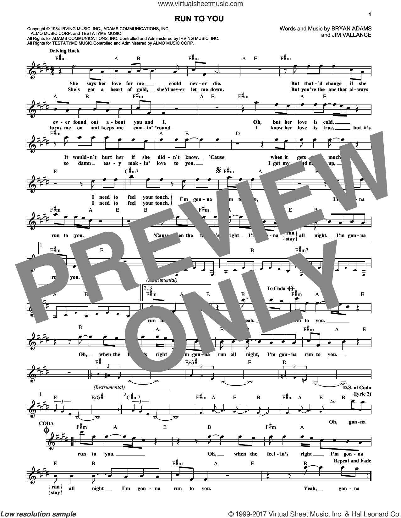 Run To You sheet music for voice and other instruments (fake book) by Bryan Adams, intermediate. Score Image Preview.