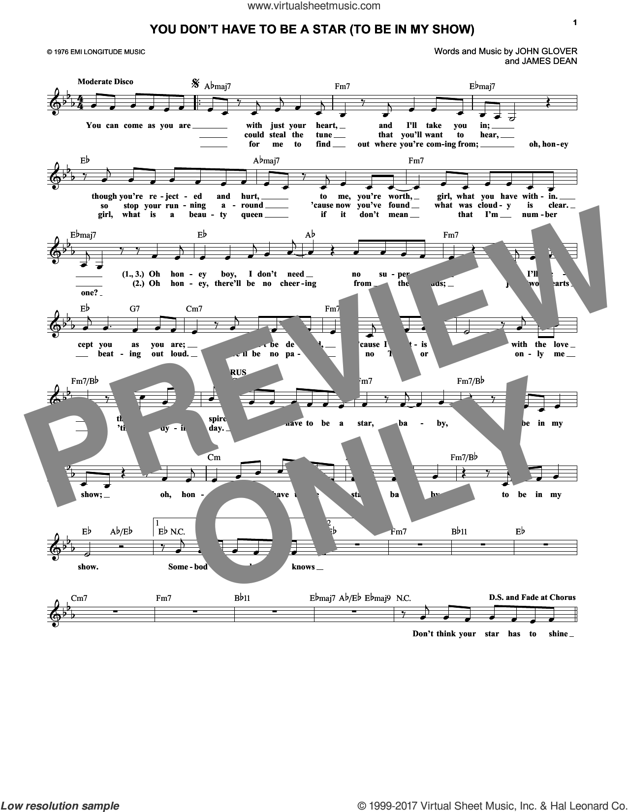 You Don't Have To Be A Star (To Be In My Show) sheet music for voice and other instruments (fake book) by James Dean, Marilyn McCoo & Billy Davis, Jr. and John Glover, intermediate skill level