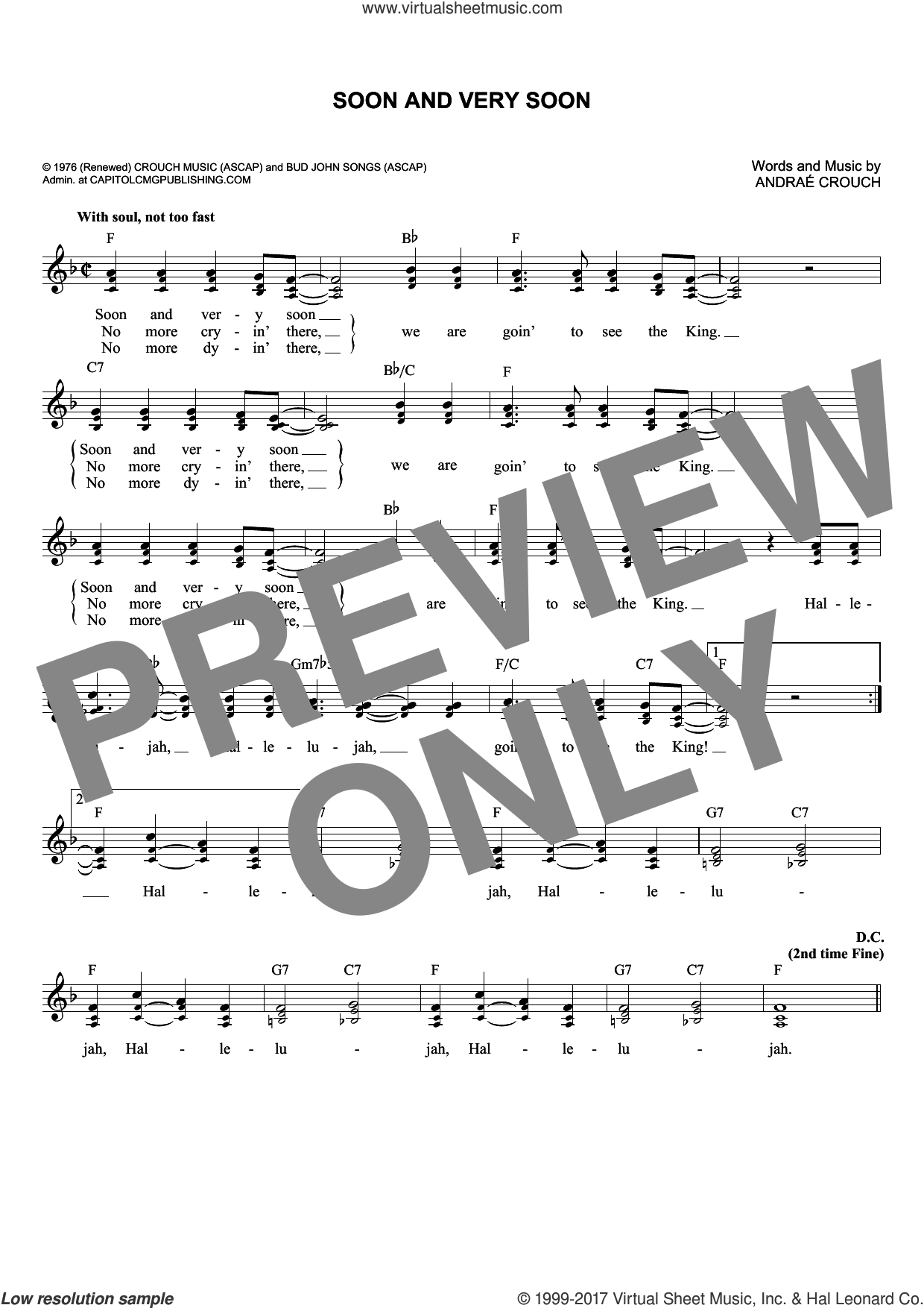 Soon And Very Soon sheet music for voice and other instruments (fake book) by Andrae Crouch, intermediate skill level
