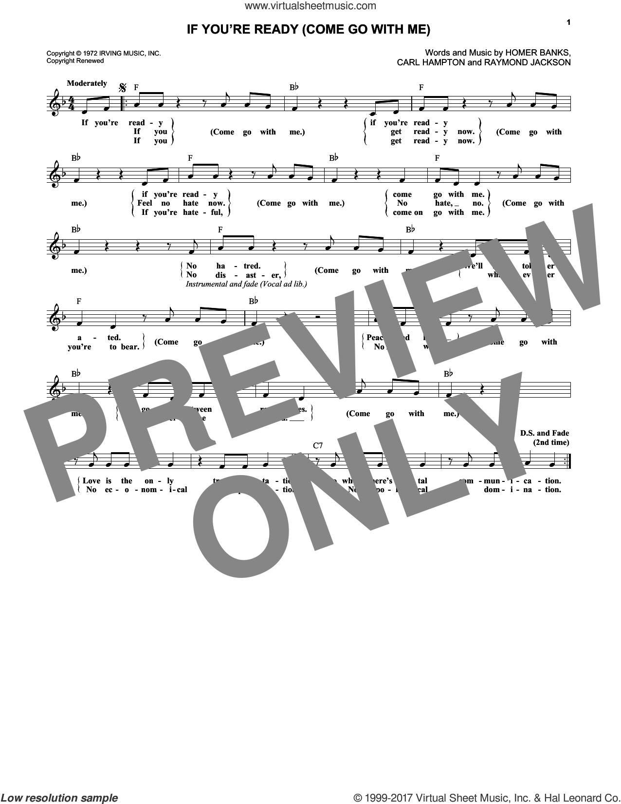 If You're Ready (Come Go With Me) sheet music for voice and other instruments (fake book) by The Staple Singers, Carl Hampton, Homer Banks and Raymond Jackson, intermediate