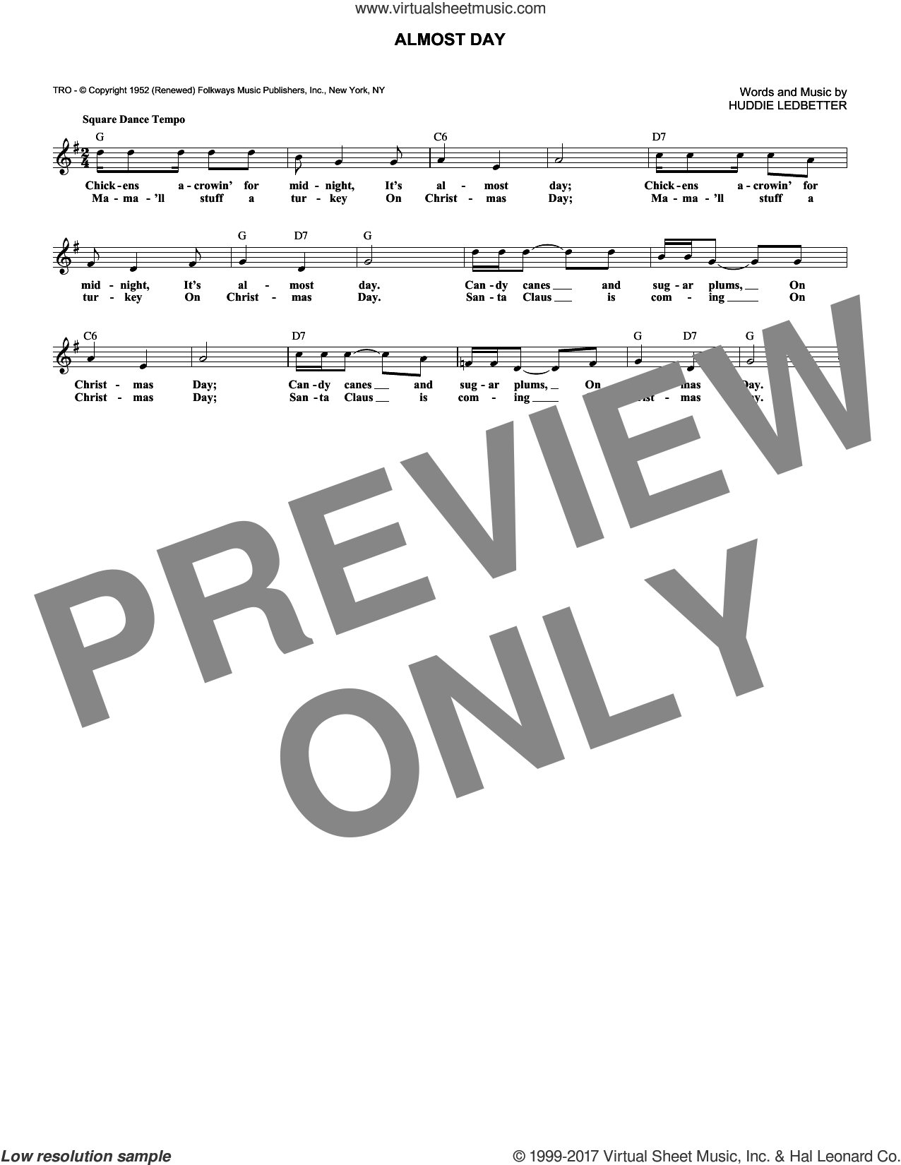 Almost Day sheet music for voice and other instruments (fake book) by Huddie Ledbetter, intermediate. Score Image Preview.