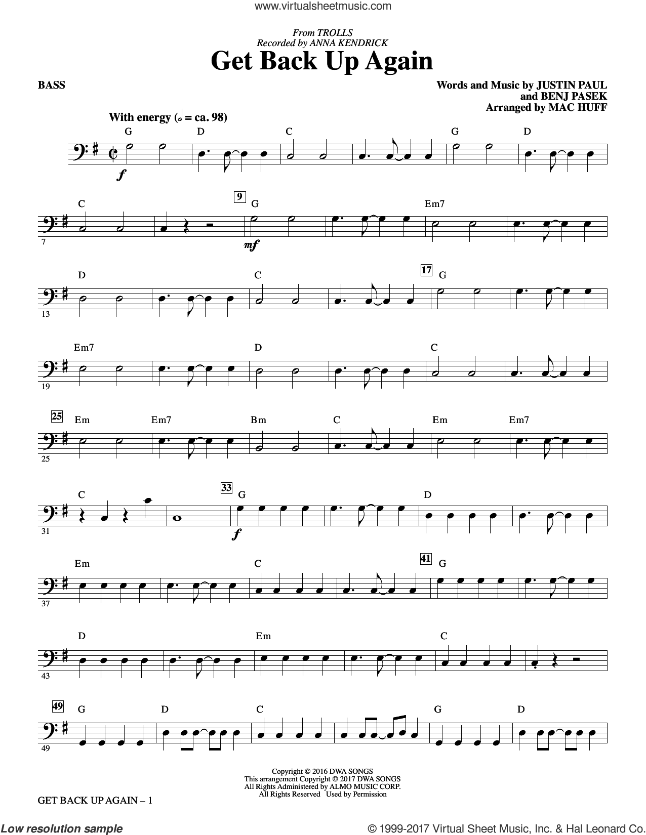 Get Back Up Again (from Trolls) sheet music for orchestra/band (bass) by Mac Huff, Anna Kendrick, Benj Pasek and Justin Paul. Score Image Preview.