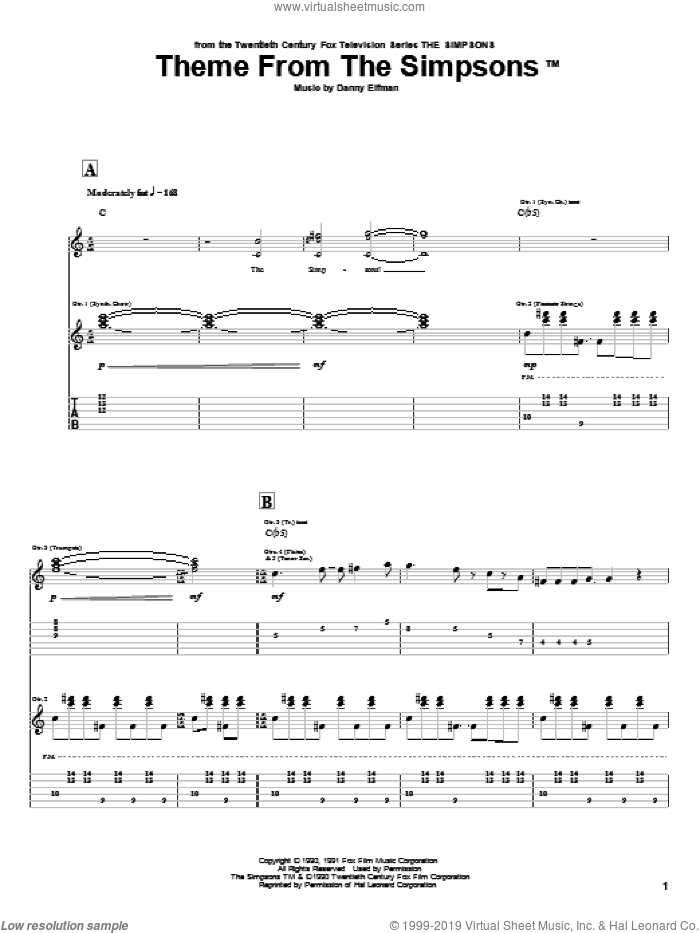 Theme From The Simpsons sheet music for guitar (tablature) by Danny Elfman and The Simpsons. Score Image Preview.