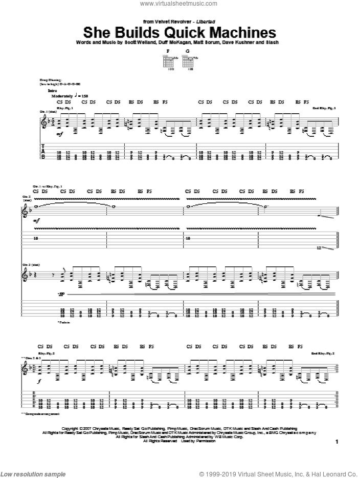 She Builds Quick Machines sheet music for guitar (tablature) by Velvet Revolver, Dave Kushner, Duff McKagan, Matt Sorum, Scott Weiland and Slash, intermediate skill level