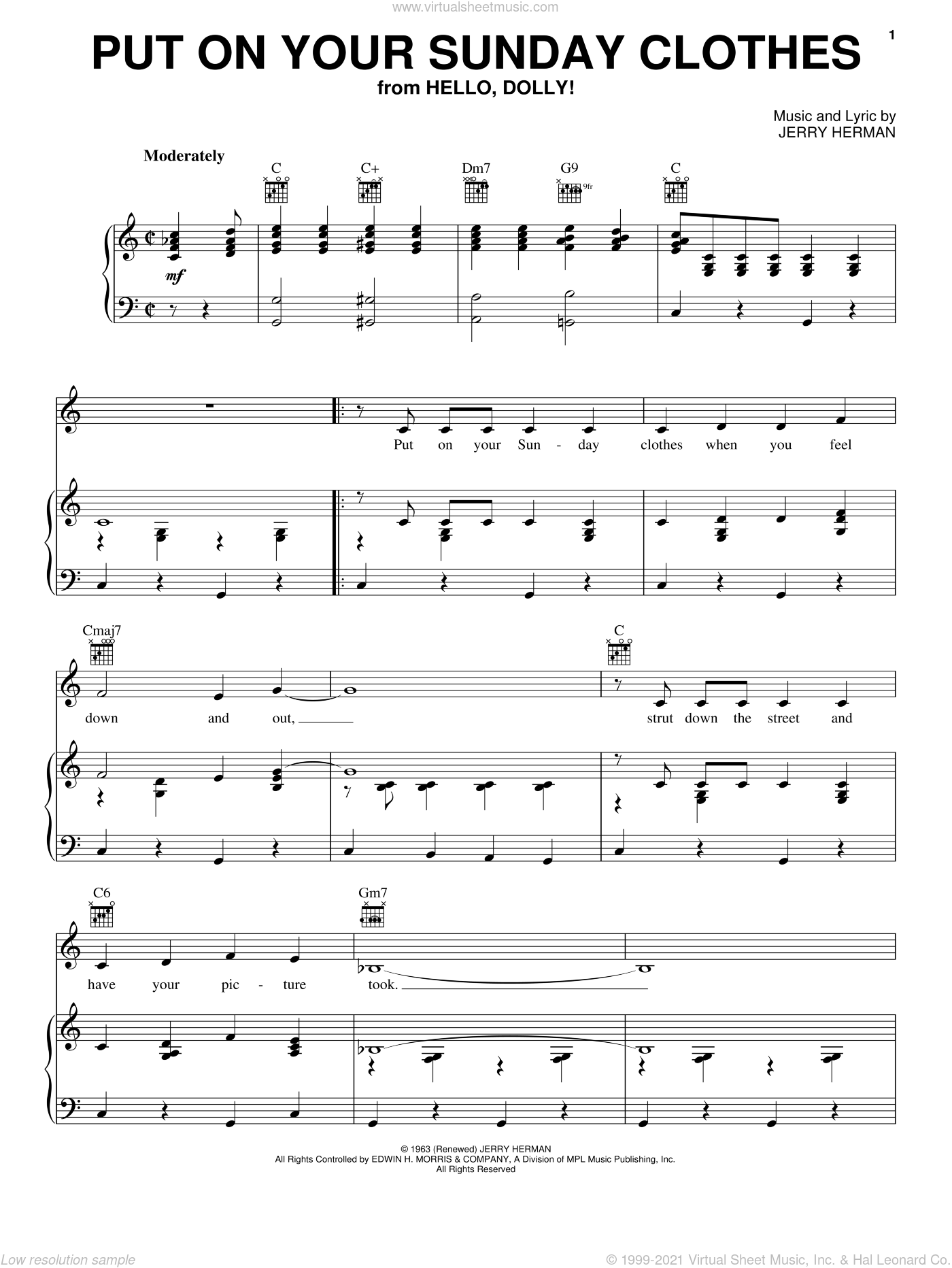 Put On Your Sunday Clothes sheet music for voice, piano or guitar by Jerry Herman and Hello, Dolly! (Musical), intermediate skill level