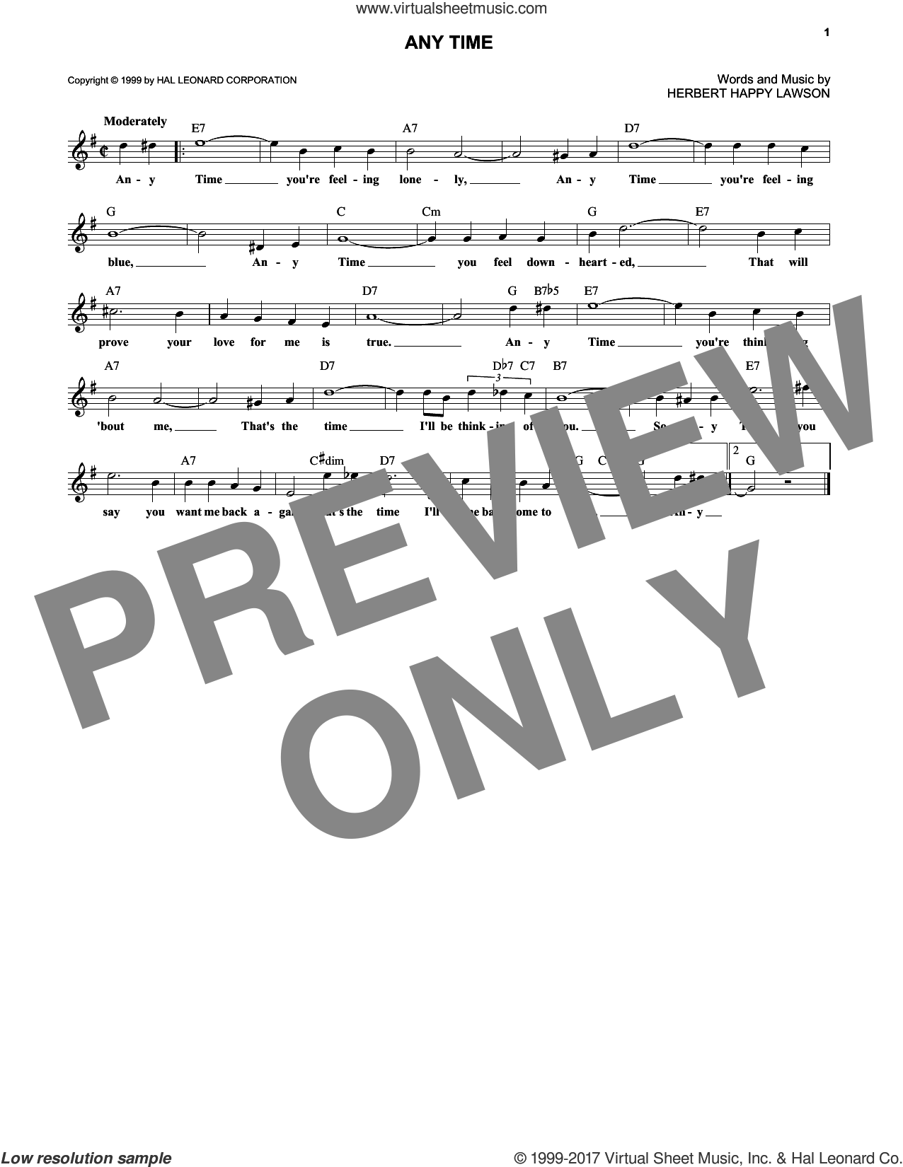 Any Time sheet music for voice and other instruments (fake book) by Eddy Arnold and Herbert Happy Lawson, intermediate skill level