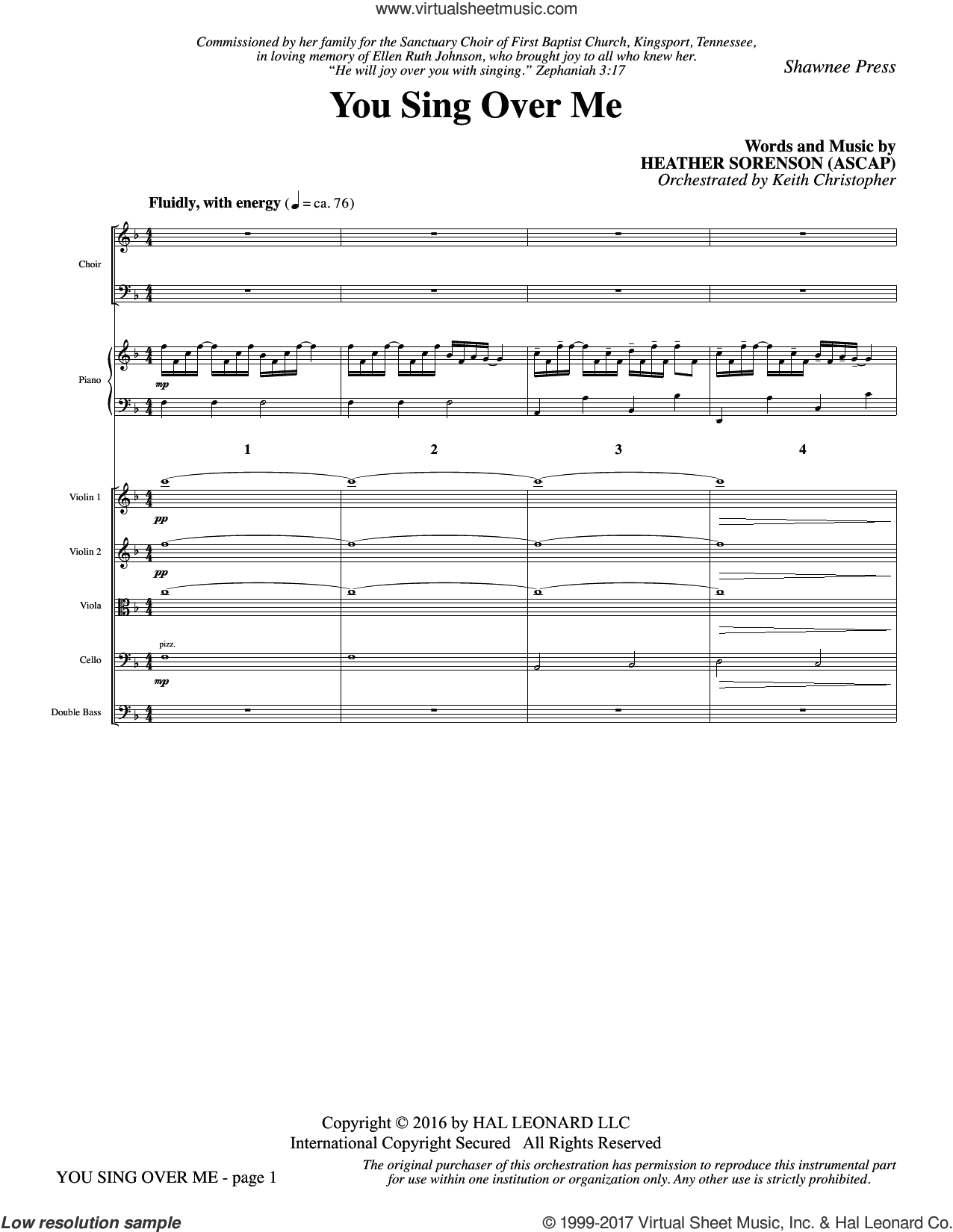 You Sing Over Me (COMPLETE) sheet music for orchestra/band by Heather Sorenson, intermediate. Score Image Preview.