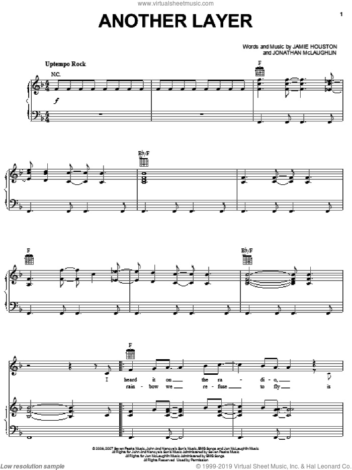 Another Layer sheet music for voice, piano or guitar by Jamie Houston