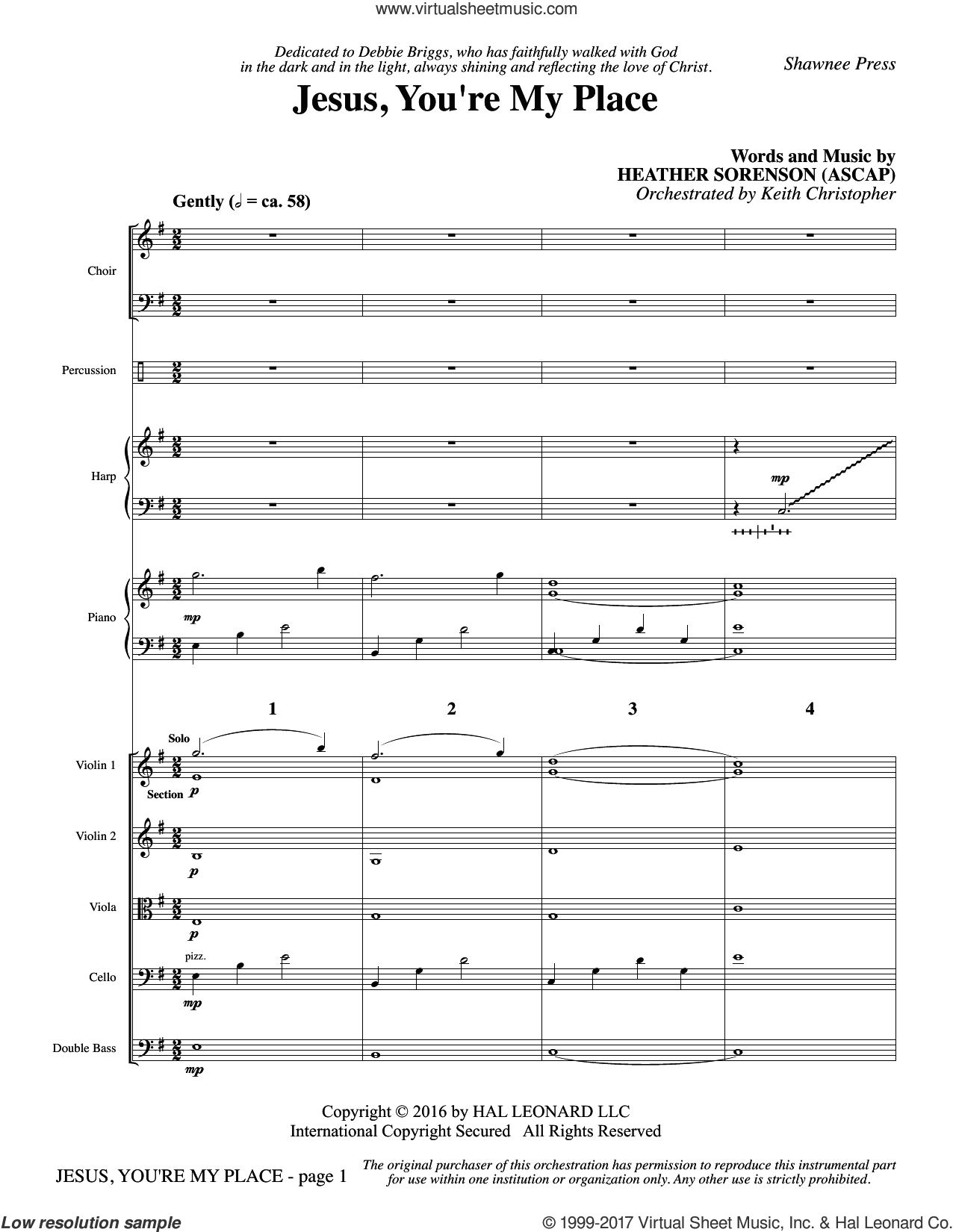 Jesus, You're My Place (COMPLETE) sheet music for orchestra/band by Heather Sorenson, intermediate skill level