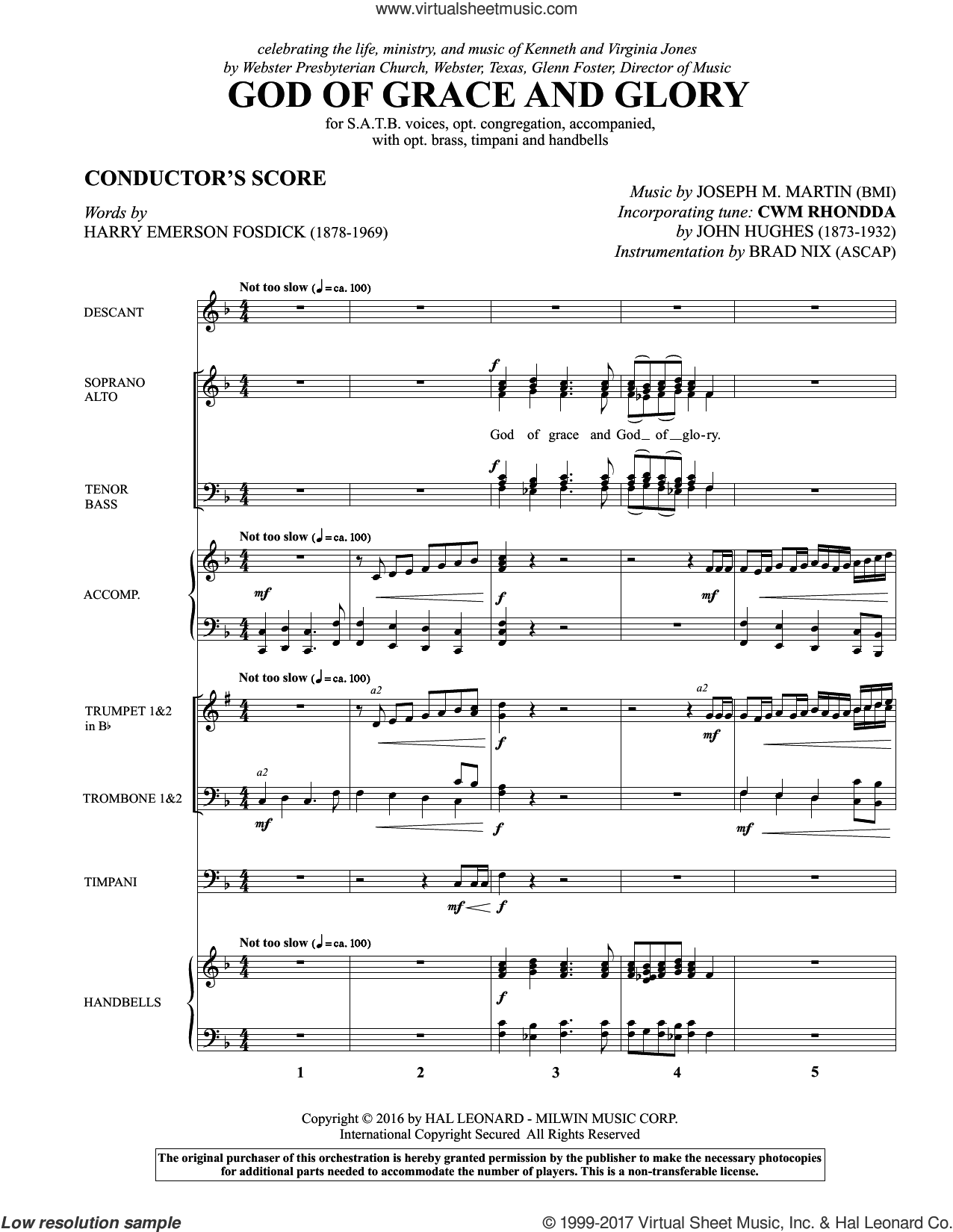 God of Grace and Glory (COMPLETE) sheet music for orchestra/band by Joseph M. Martin and Harry Emerson Fosdick, intermediate. Score Image Preview.