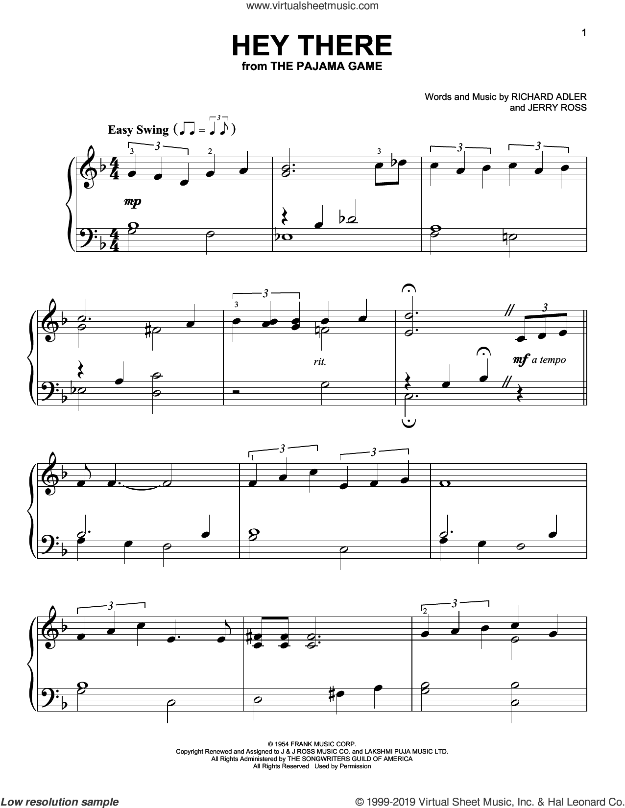 Hey There, (easy) sheet music for piano solo by Richard Adler and Jerry Ross, easy skill level