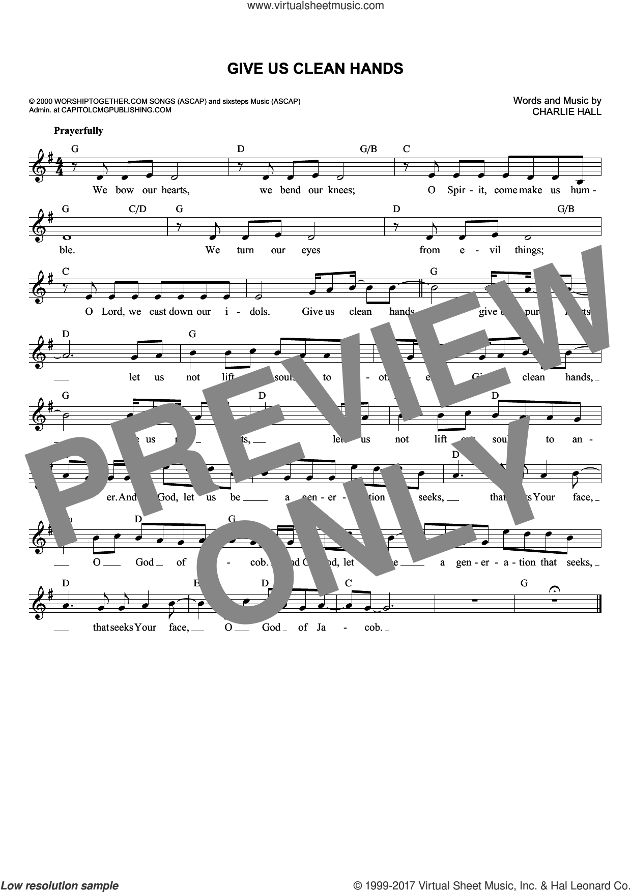 Give Us Clean Hands sheet music for voice and other instruments (fake book) by Charlie Hall, Chris Tomlin and Passion, intermediate. Score Image Preview.