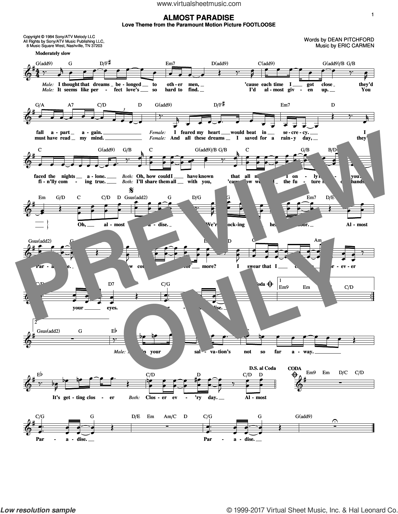 Almost Paradise sheet music for voice and other instruments (fake book) by Ann Wilson & Mike Reno, Dean Pitchford and Eric Carmen, intermediate skill level