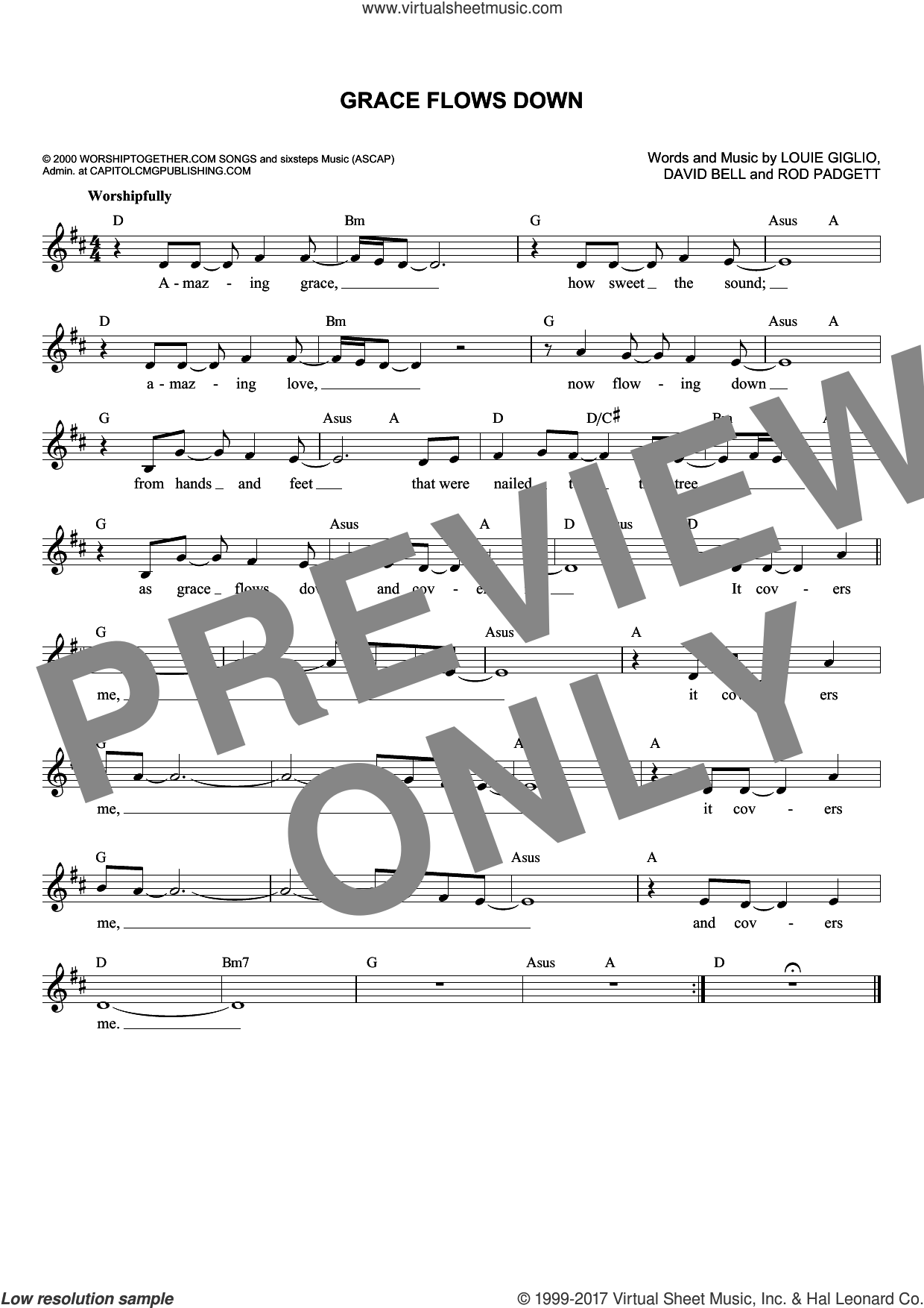 Grace Flows Down sheet music for voice and other instruments (fake book) by Passion, David Bell, Louie Giglio and Rod Padgett, intermediate skill level