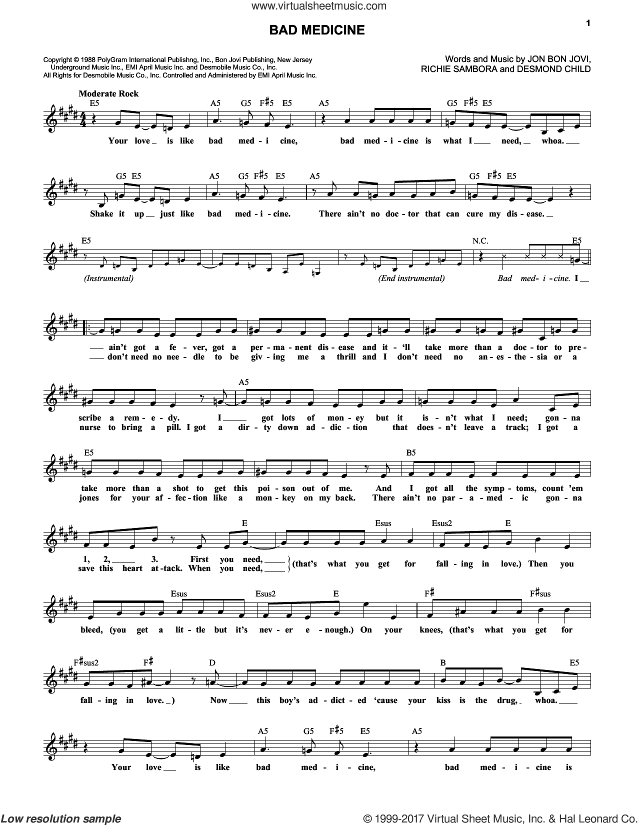 Bad Medicine sheet music for voice and other instruments (fake book) by Bon Jovi, Desmond Child and Richie Sambora, intermediate skill level