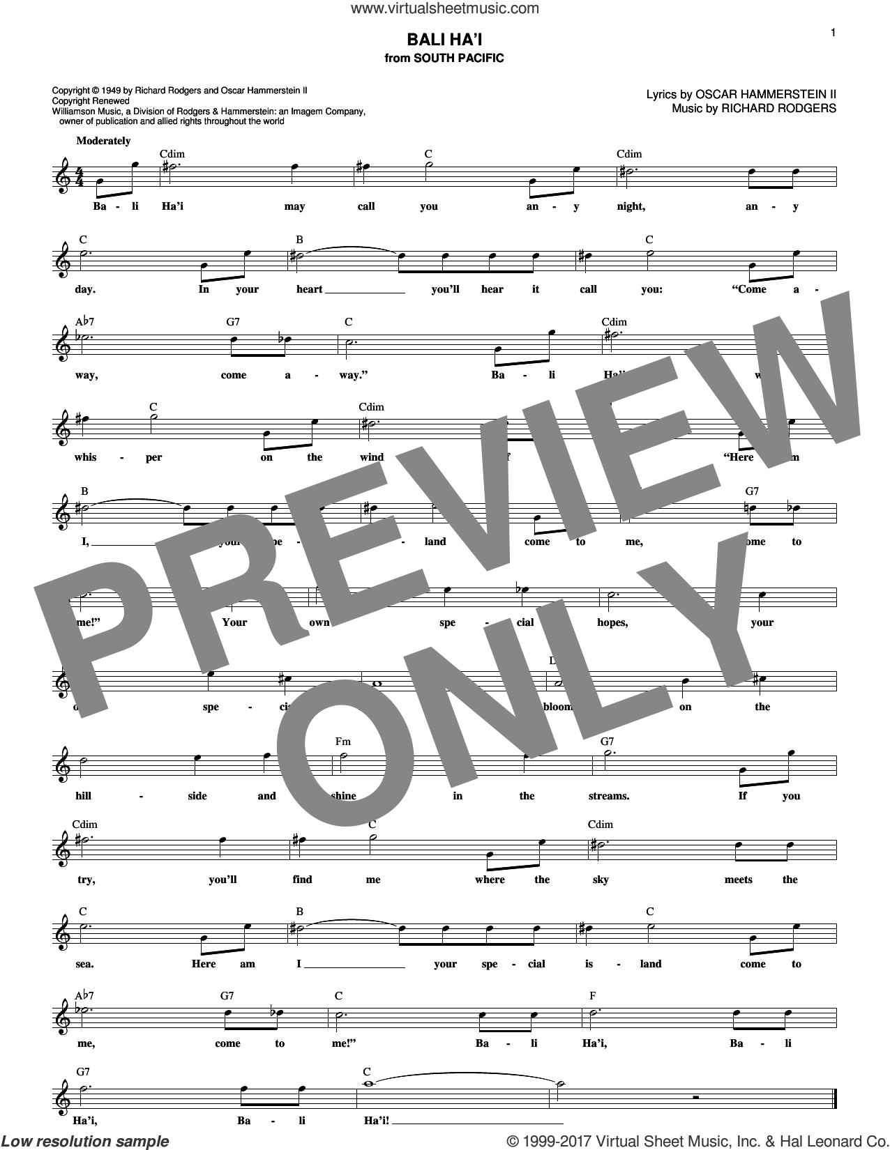 Bali Ha'i sheet music for voice and other instruments (fake book) by Rodgers & Hammerstein, Oscar II Hammerstein and Richard Rodgers, intermediate. Score Image Preview.