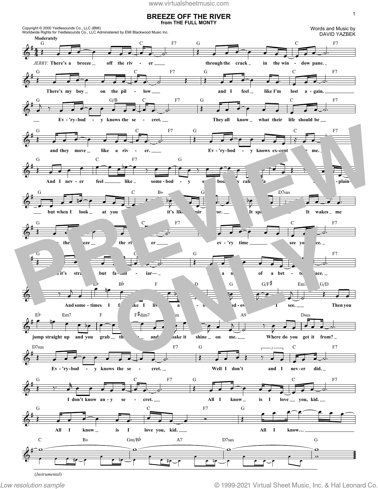Breeze Off The River sheet music for voice and other instruments (fake book) by David Yazbek, intermediate skill level