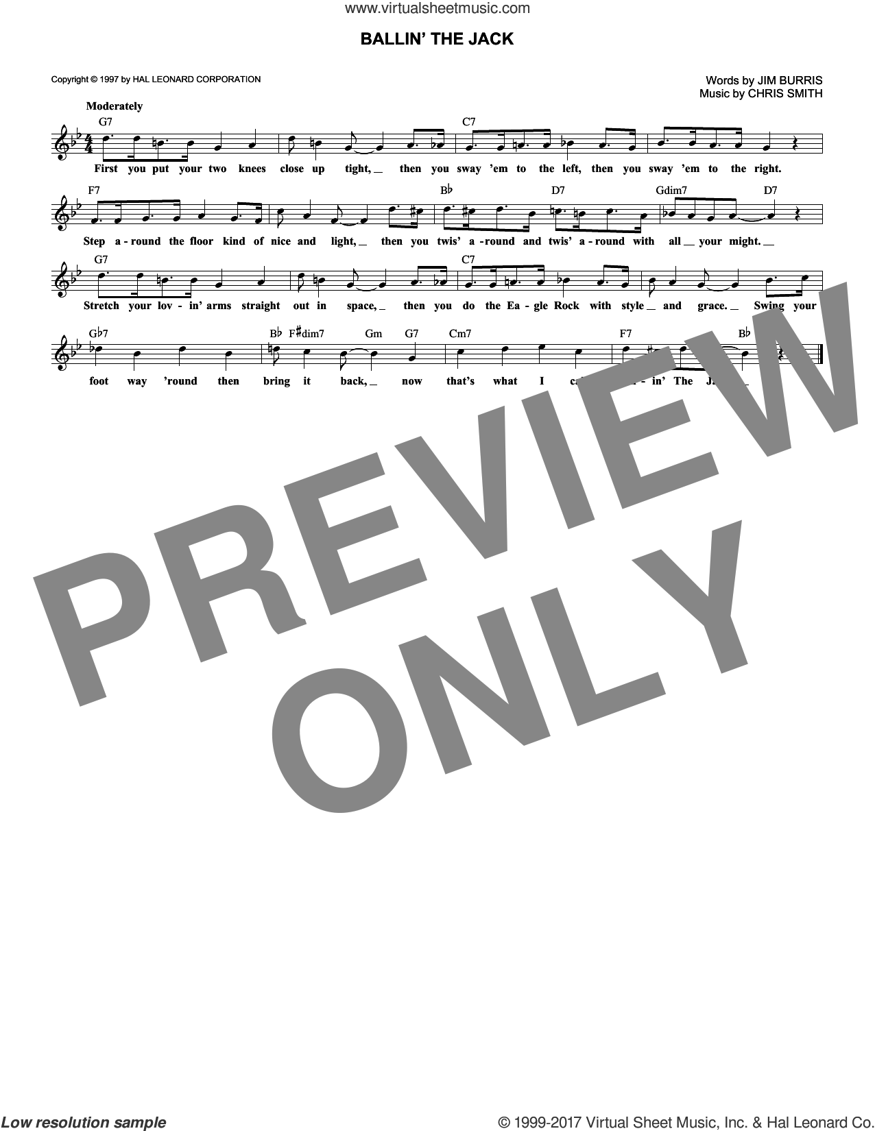 Ballin' The Jack sheet music for voice and other instruments (fake book) by Chris Smith, intermediate voice. Score Image Preview.