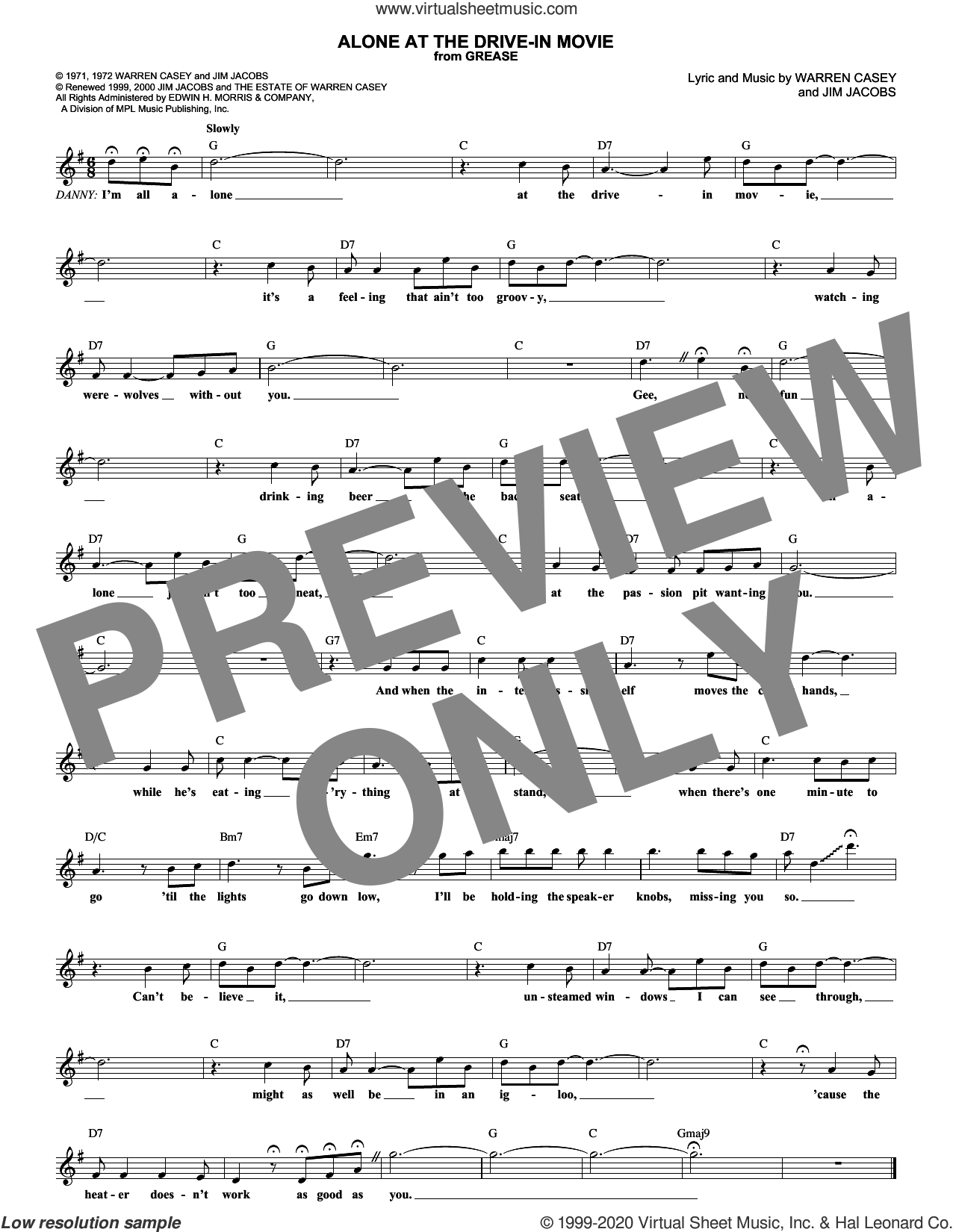 Alone At The Drive-In Movie sheet music for voice and other instruments (fake book) by Jim Jacobs and Warren Casey, intermediate skill level